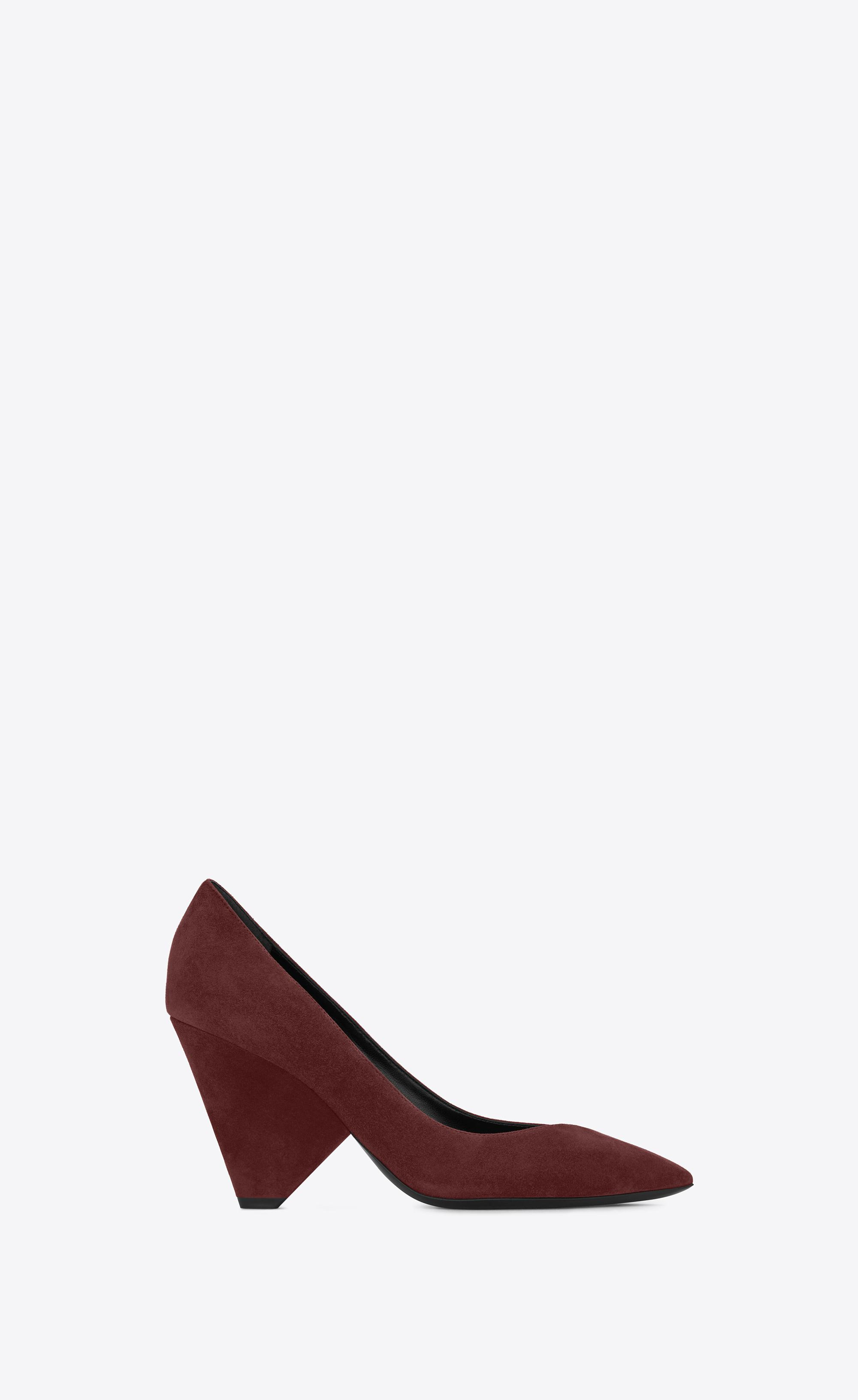 53472fc25afa Lyst - Saint Laurent Niki 85 Pump Shoe In Burgundy Suede