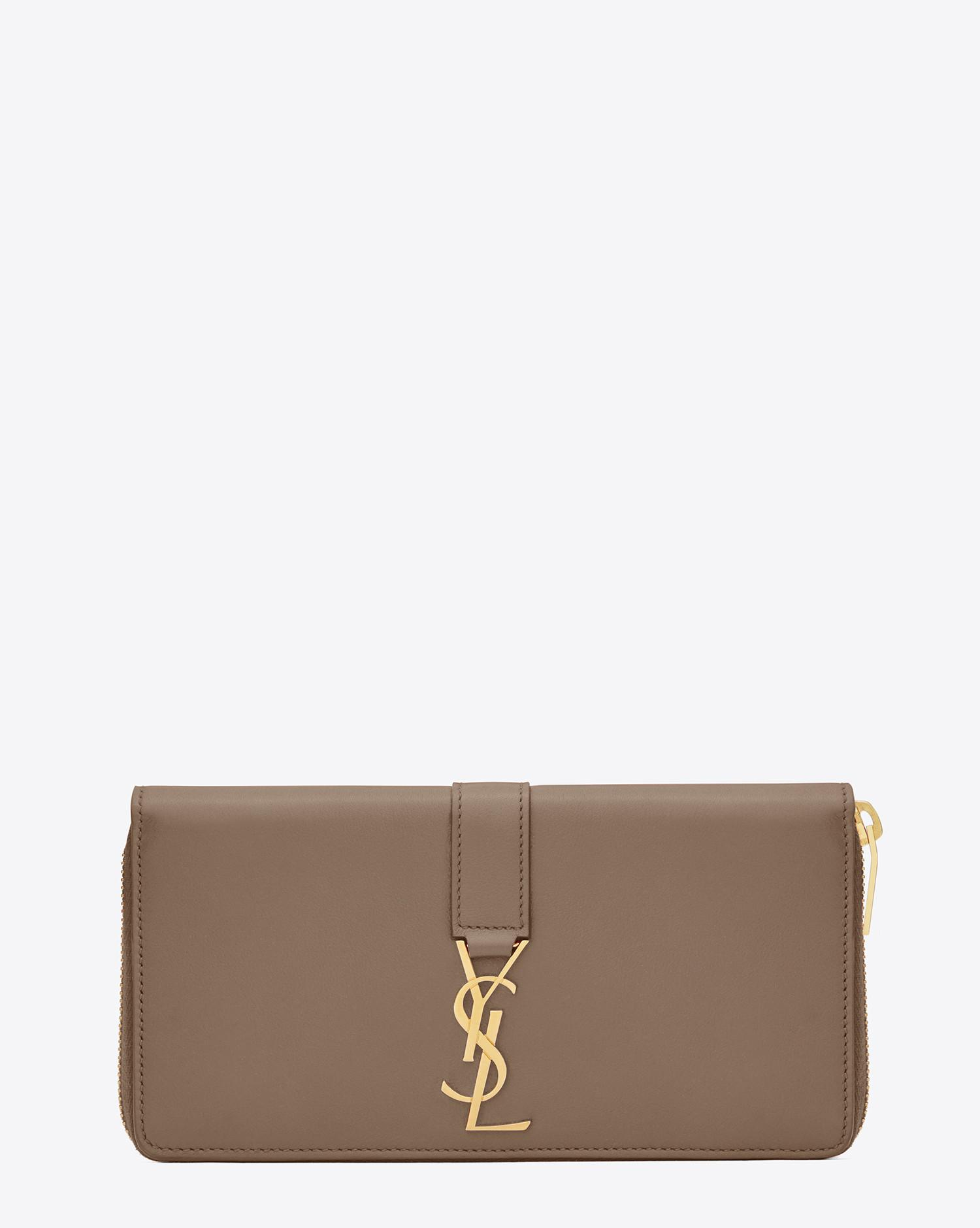 81e675dc204 Saint Laurent Ysl Zip Around Wallet In Taupe Leather in Brown - Lyst