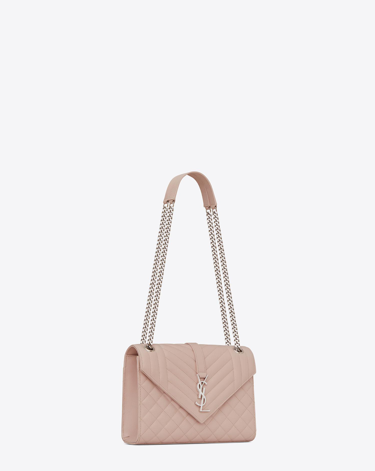 56668ef74ab3 Saint Laurent. Women s Pink Envelope Medium Bag In Grain De Poudre Embossed  Leather