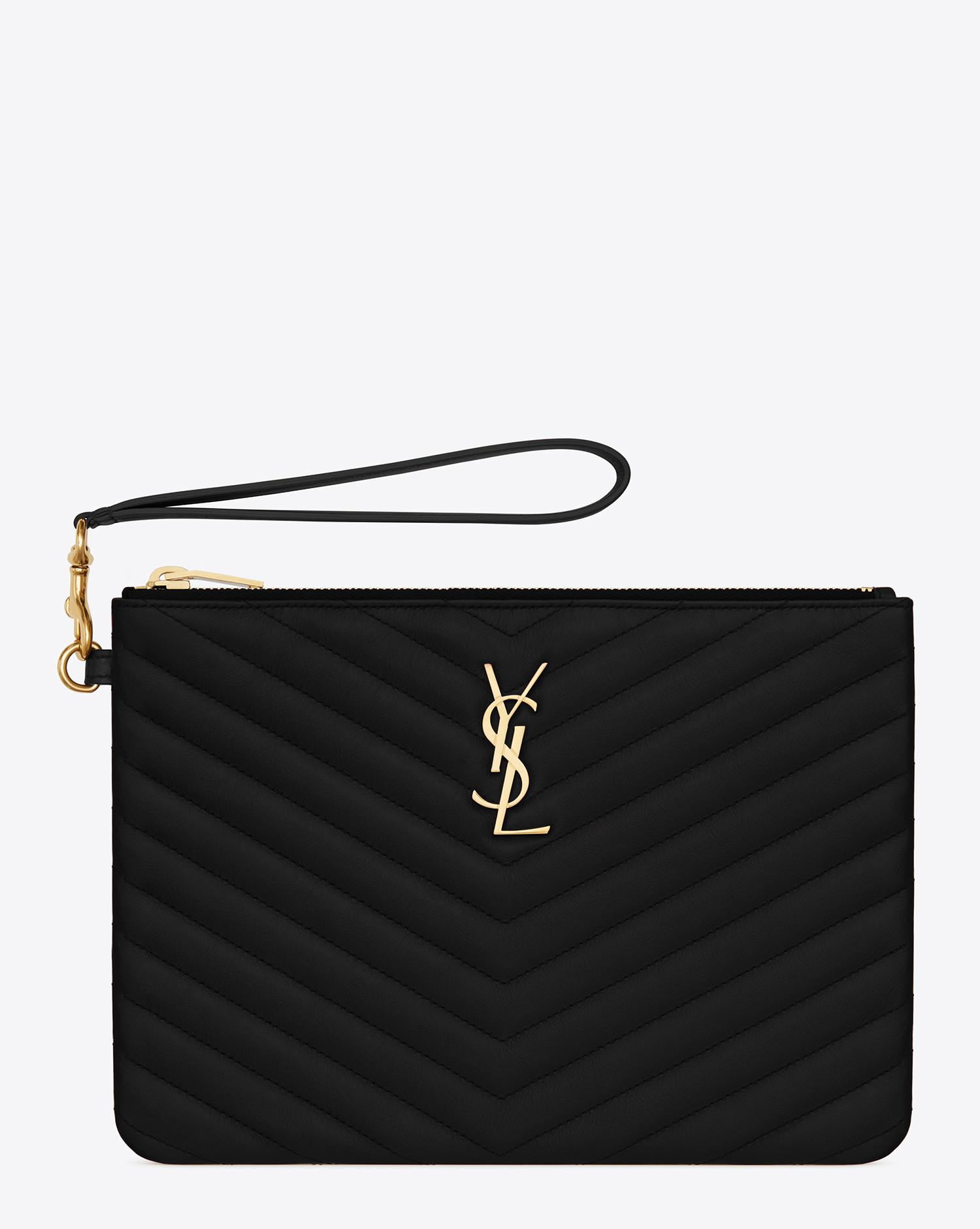 Lyst - Saint Laurent Monogram A5 Pouch In Matelassé Leather in Black 3c7d2b40833b1