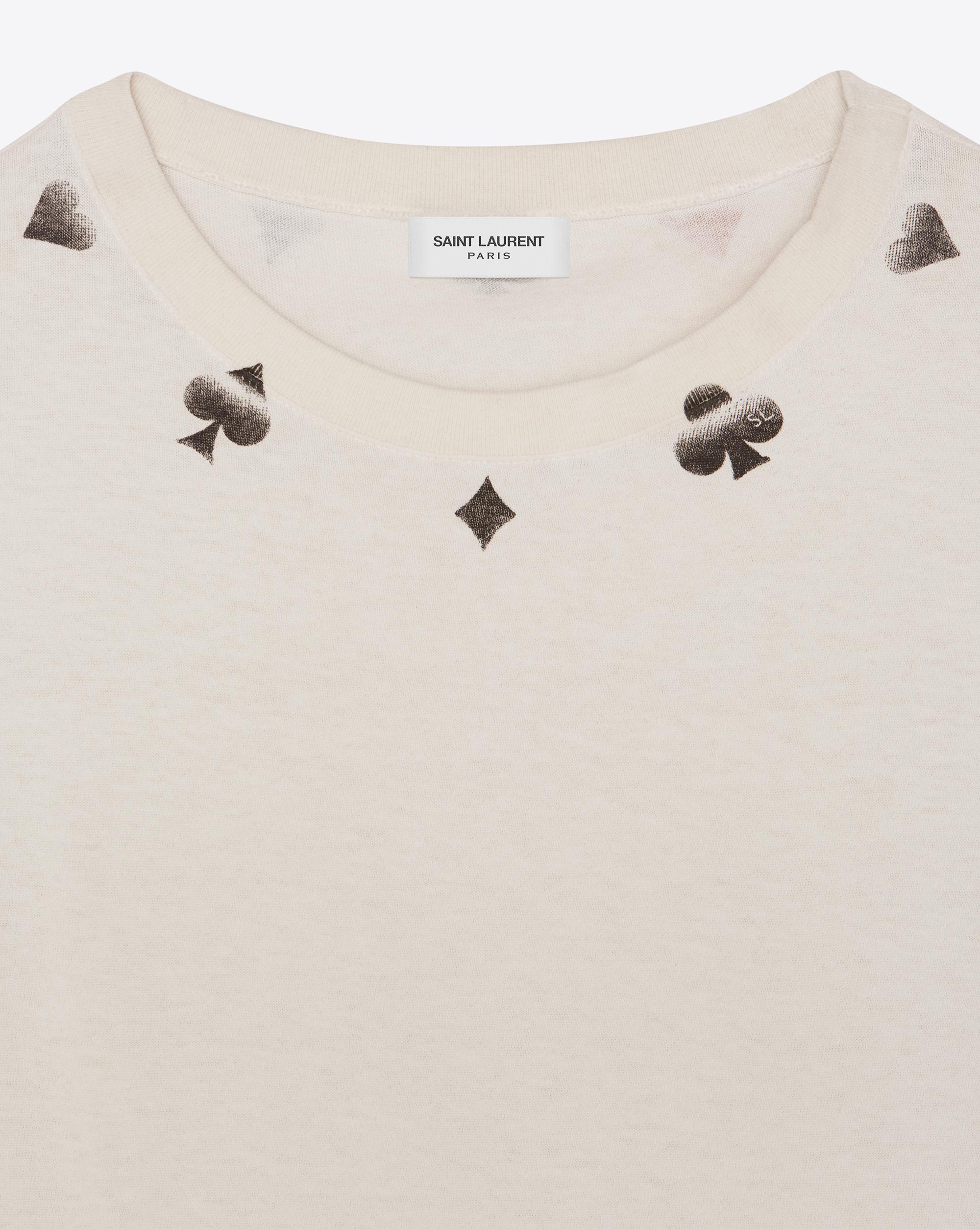 e9a6c1bf749684 Saint Laurent - Natural Destroyed Poker T-shirt - Lyst. View fullscreen