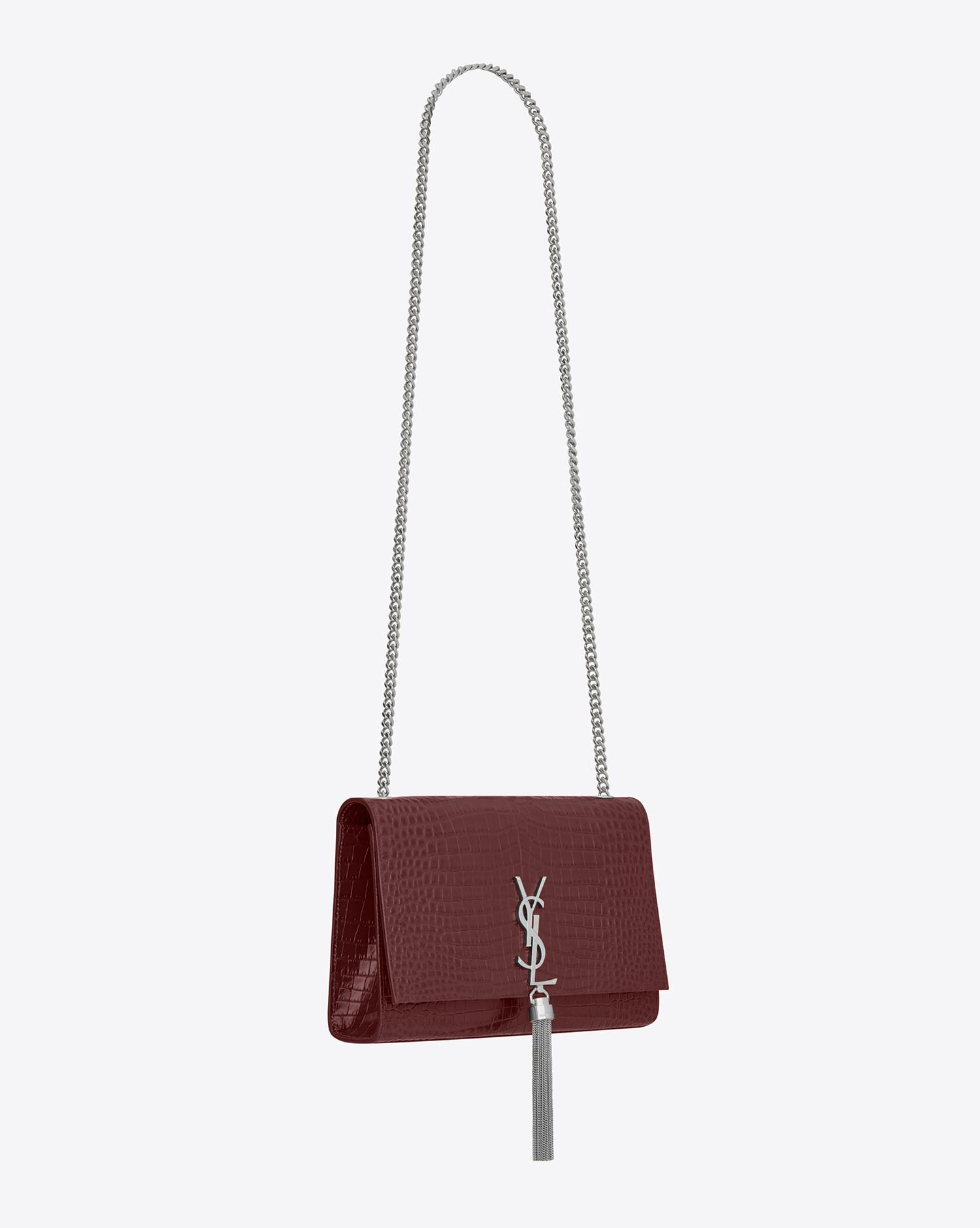c011e5a295 Saint Laurent. Women s Red Classic Medium Kate Monogram Croc-Embossed  Leather Shoulder Bag