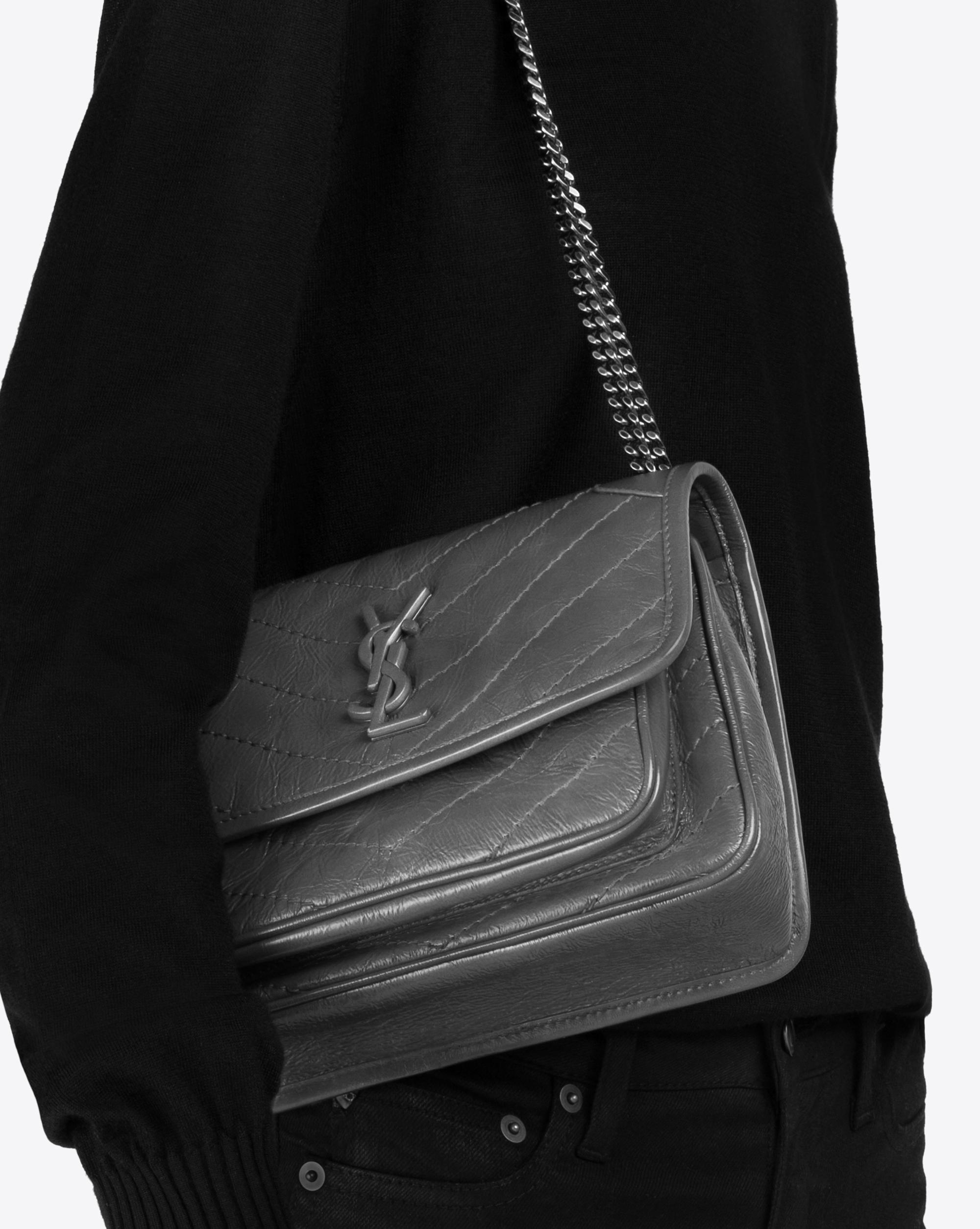 Saint Laurent Niki Baby In Vintage Leather In Brown Lyst