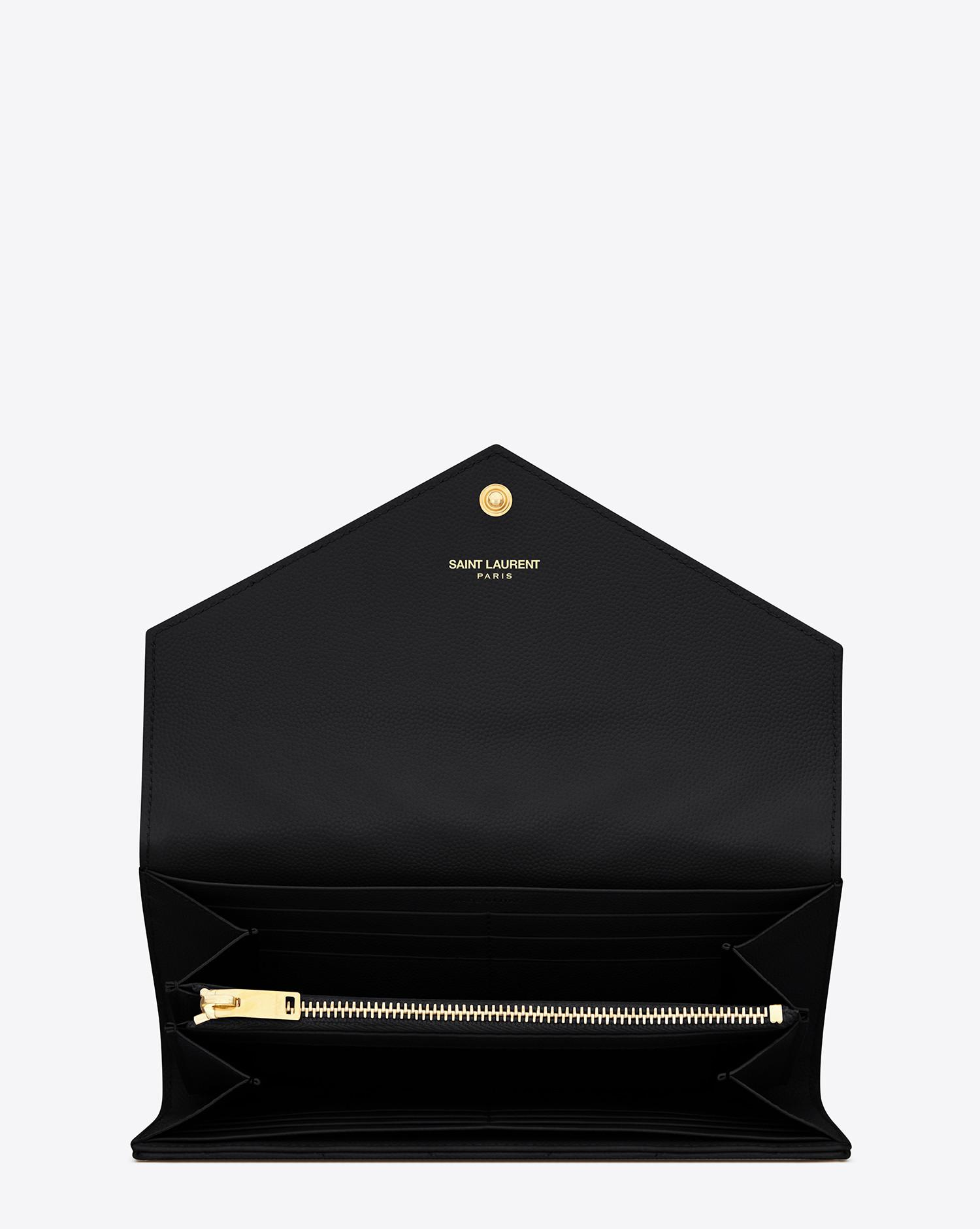 d59b73832a Lyst - Saint Laurent Monogram Large Flap Wallet In Grain De Poudre Embossed  Leather in Black