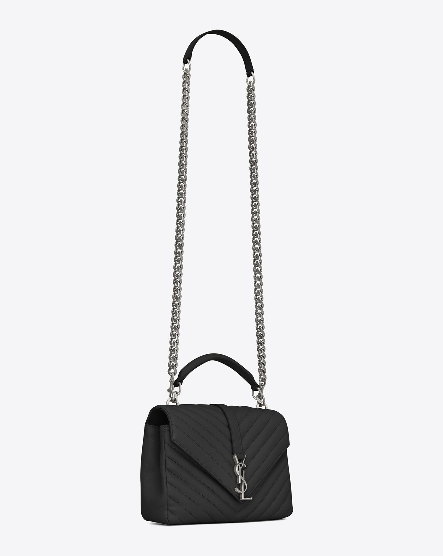a417fdff5c36 Saint Laurent. Women s Black Monogram College Medium Quilted Leather  Shoulder Bag