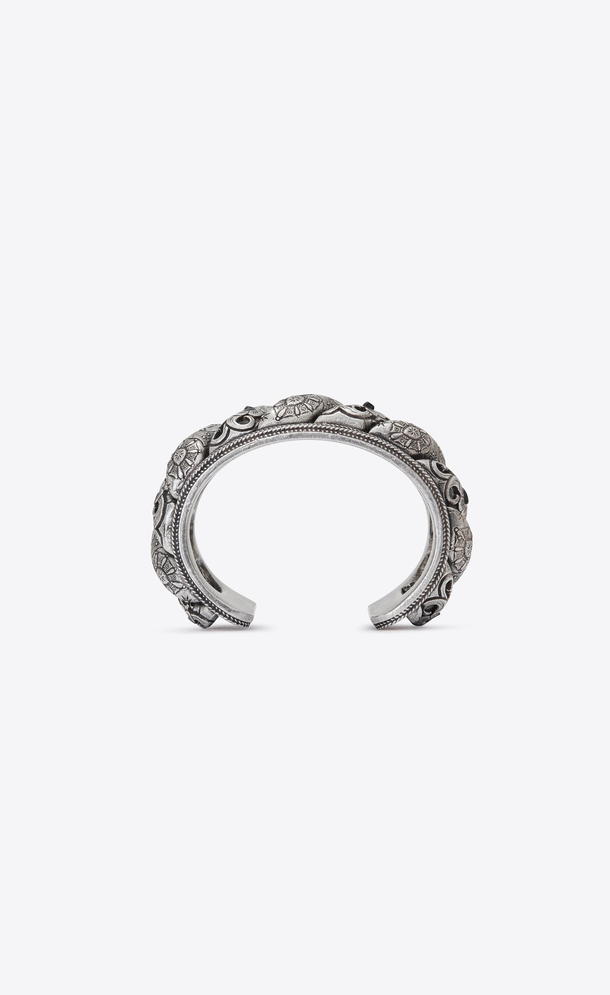 445265cd6db Saint Laurent - Metallic Marrakech Cuff Bracelet In Silver-toned Tin And  Black Agate -. View fullscreen