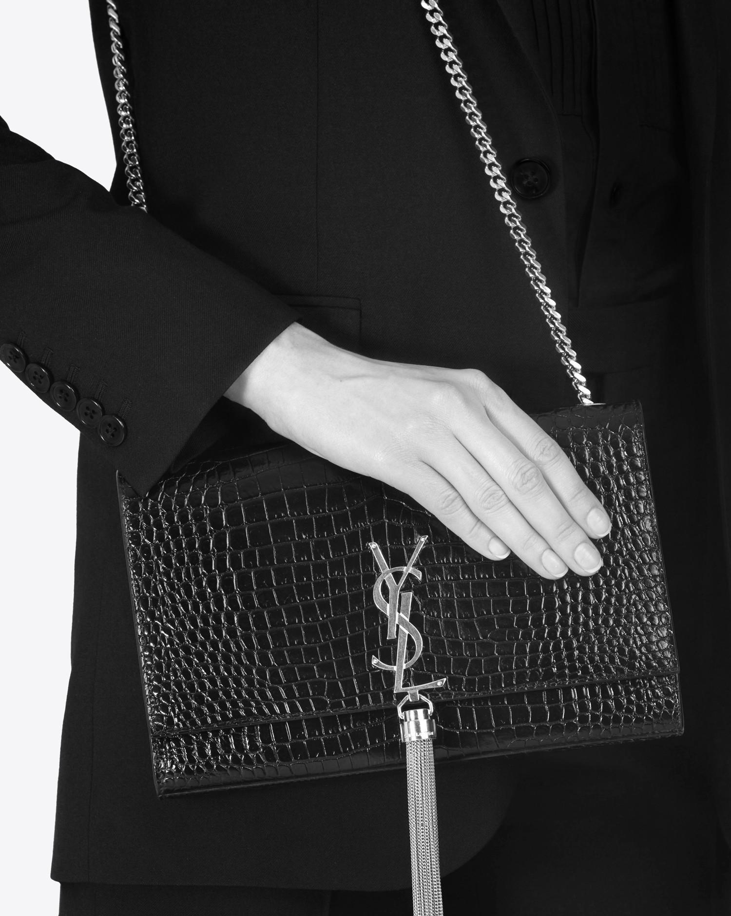 8b586f4ca136 Saint Laurent Classic Medium Kate Monogram Tassel Croc-Embossed ...