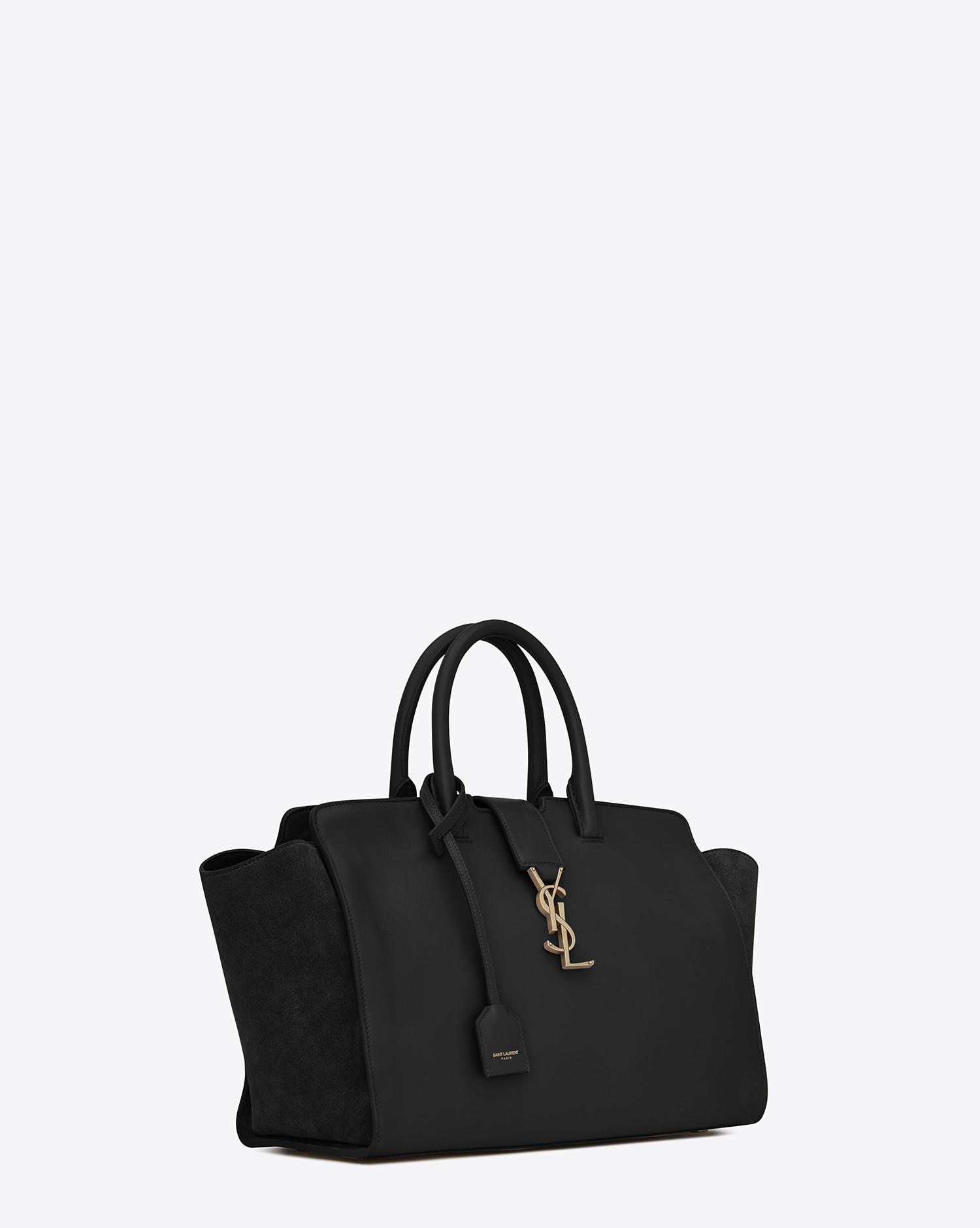 ed5b7df8cd52 Saint Laurent. Women s Black Small Monogram Downtown Cabas Leather And Suede  Tote Bag
