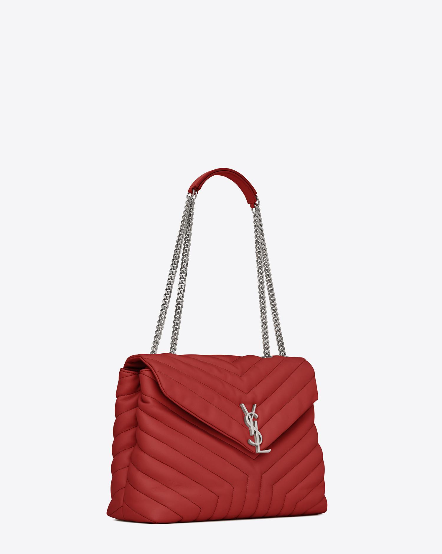 Saint Laurent Medium Loulou Monogram Chain Bag In Lipstick Red