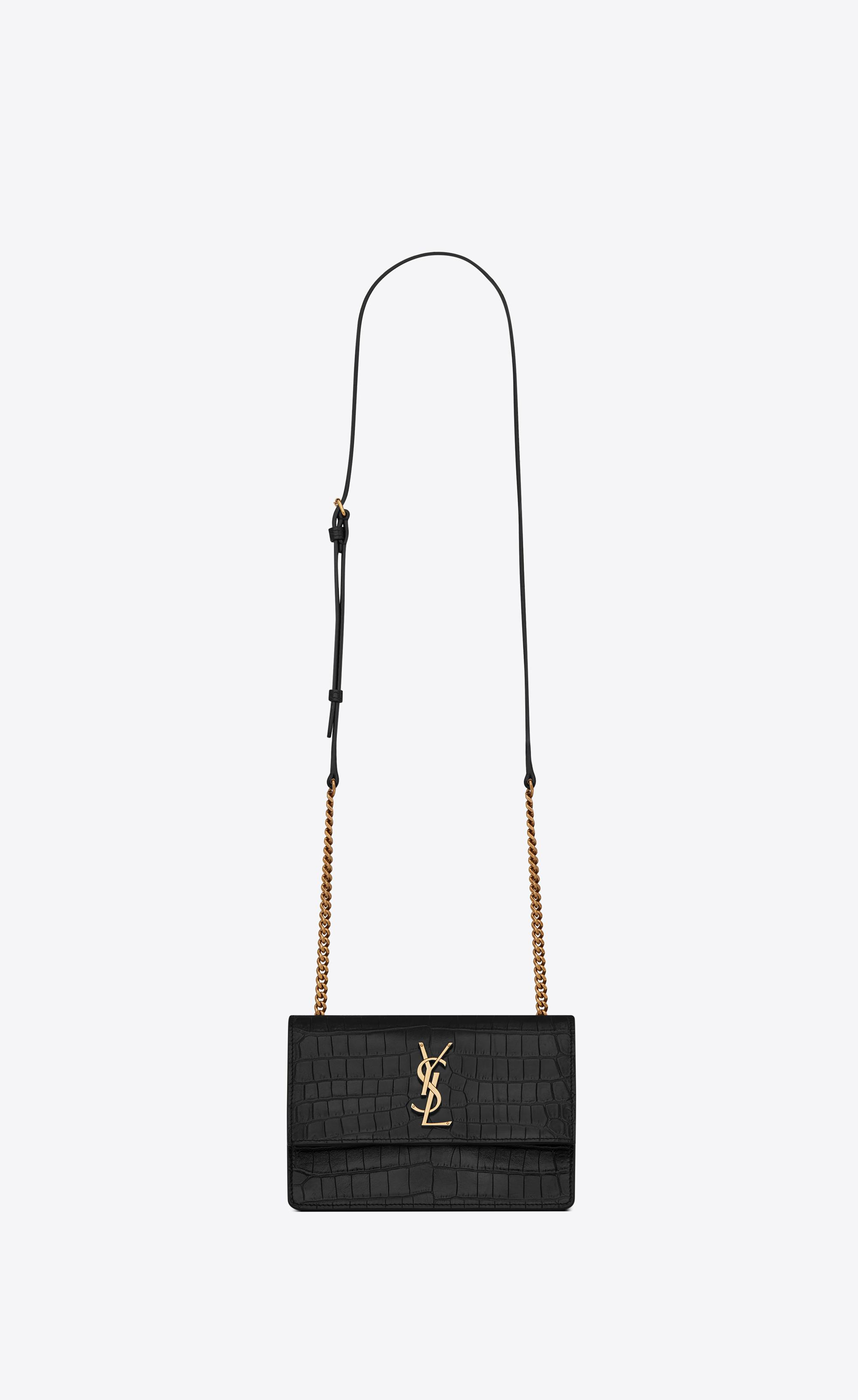 Saint Laurent. Women s Black Sunset Small In Supple Crocodile Embossed  Leather 44ec3d651400b