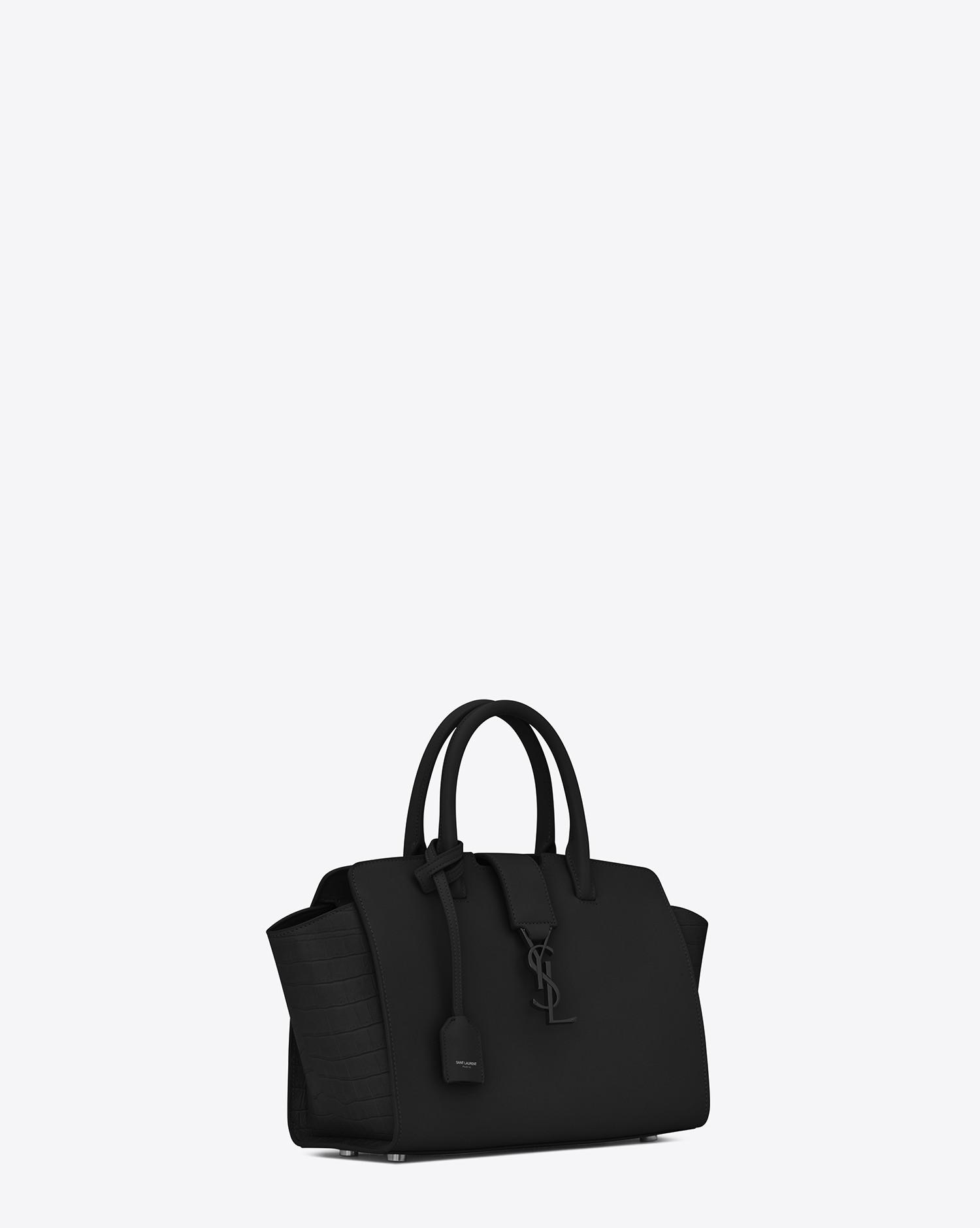 212c40c076 Saint Laurent Baby Monogram Downtown Cabas Leather Tote Bag in Black ...