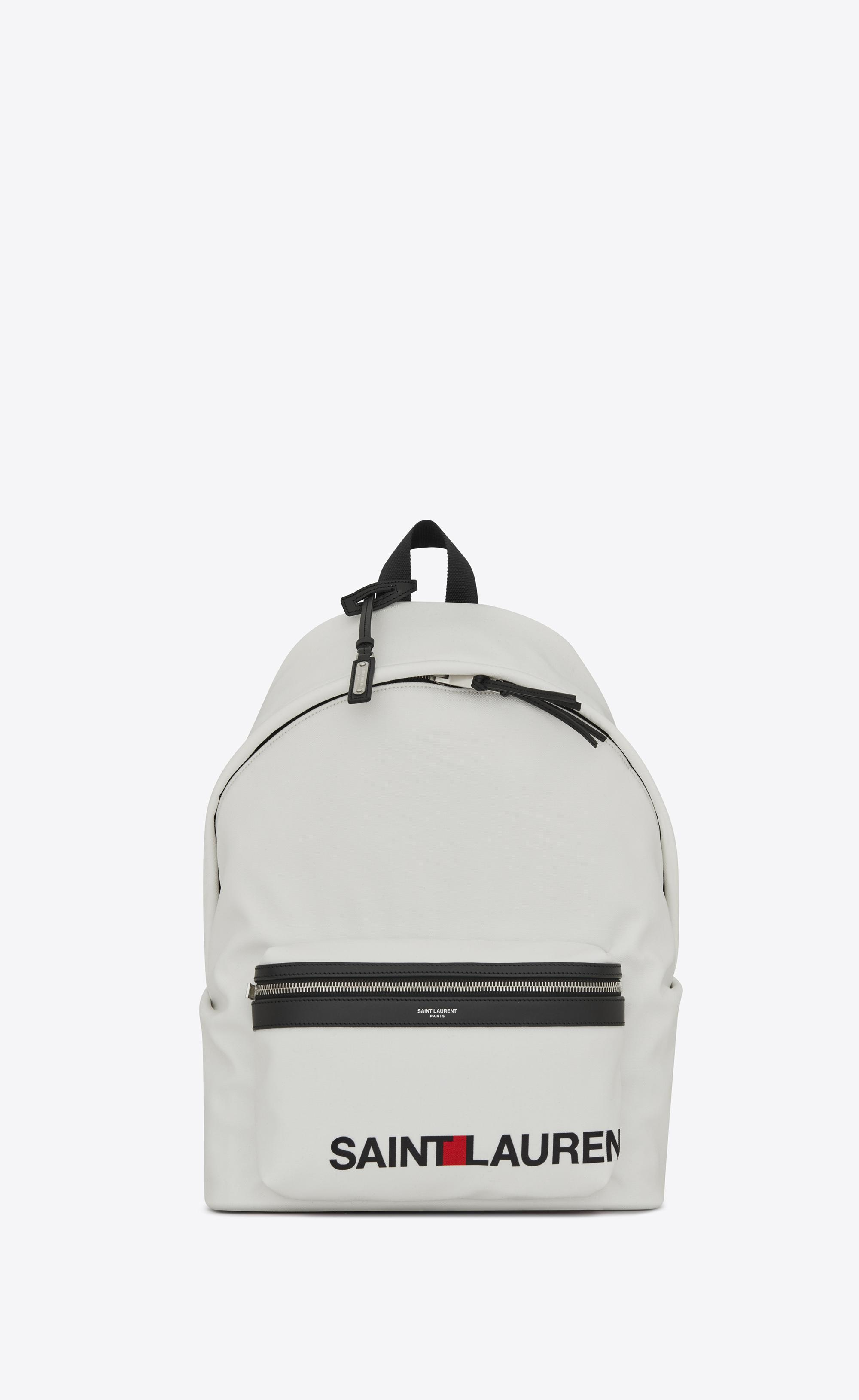 Lyst - Saint Laurent City Print Backpack In White in White for Men 012f4d5602533