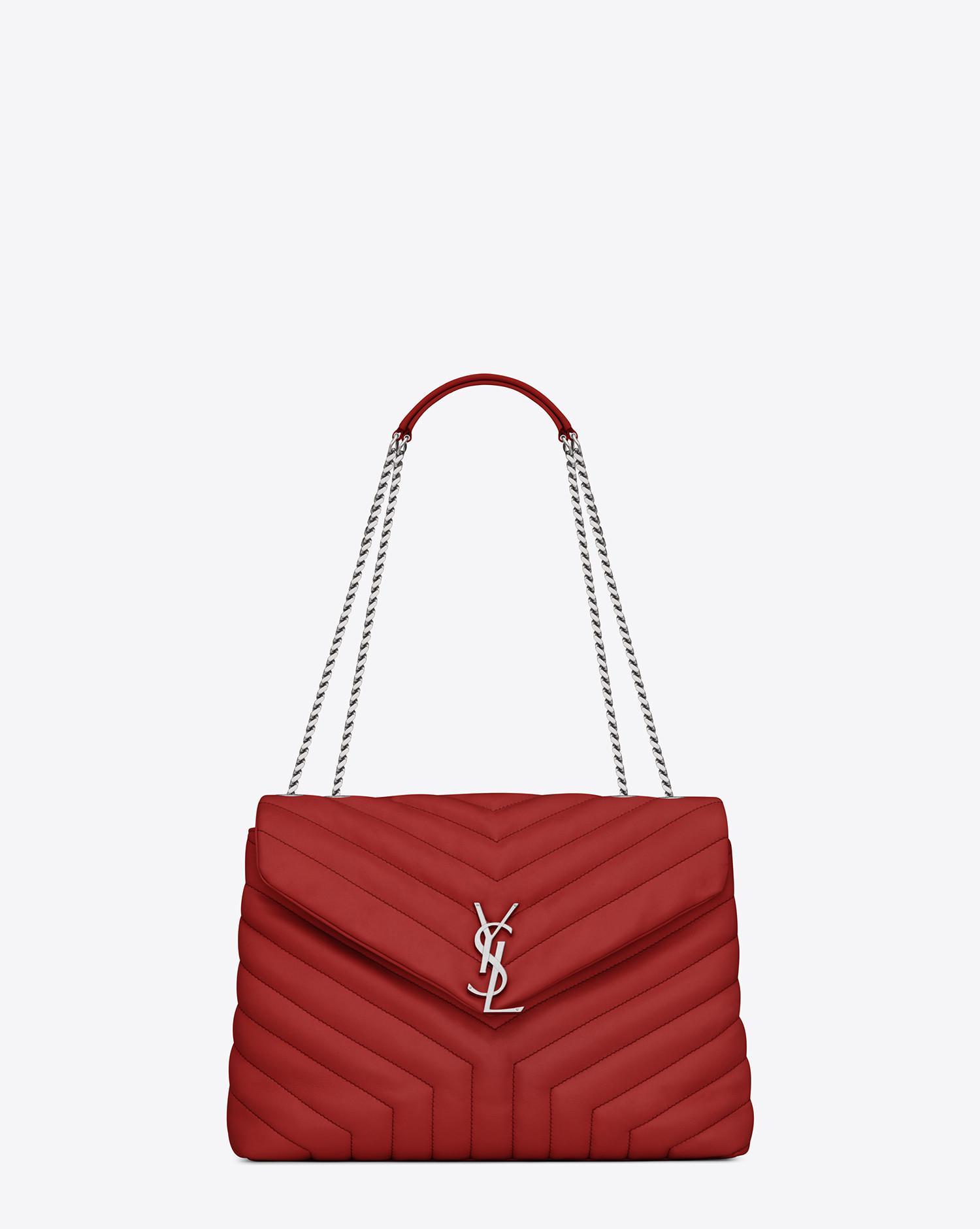 Saint Laurent. Women's Medium Loulou Monogram Chain Bag In Lipstick Red