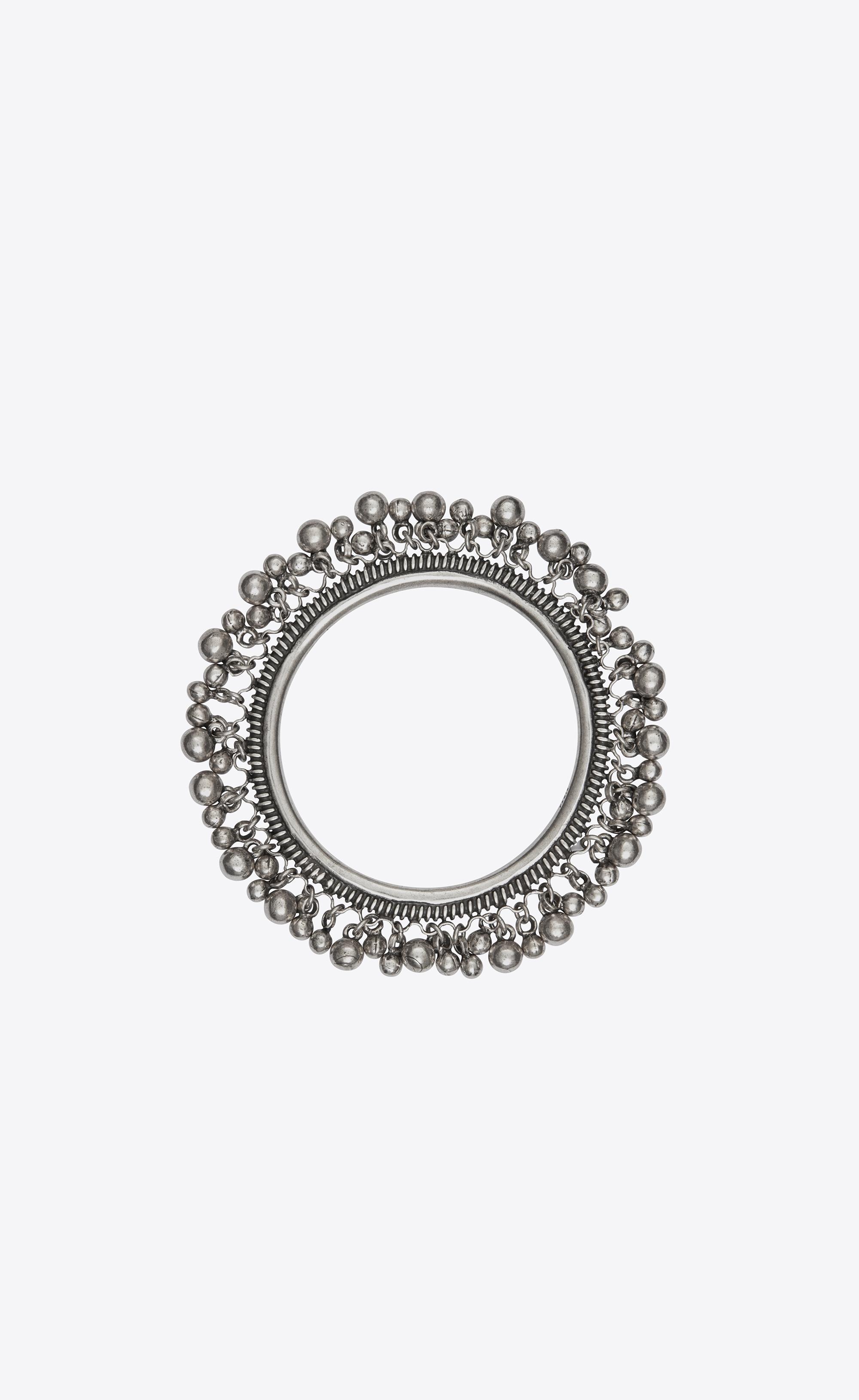 ad308b3b38 Saint Laurent Ysl Folk Bracelet With Bells In Silver Metal. in ...
