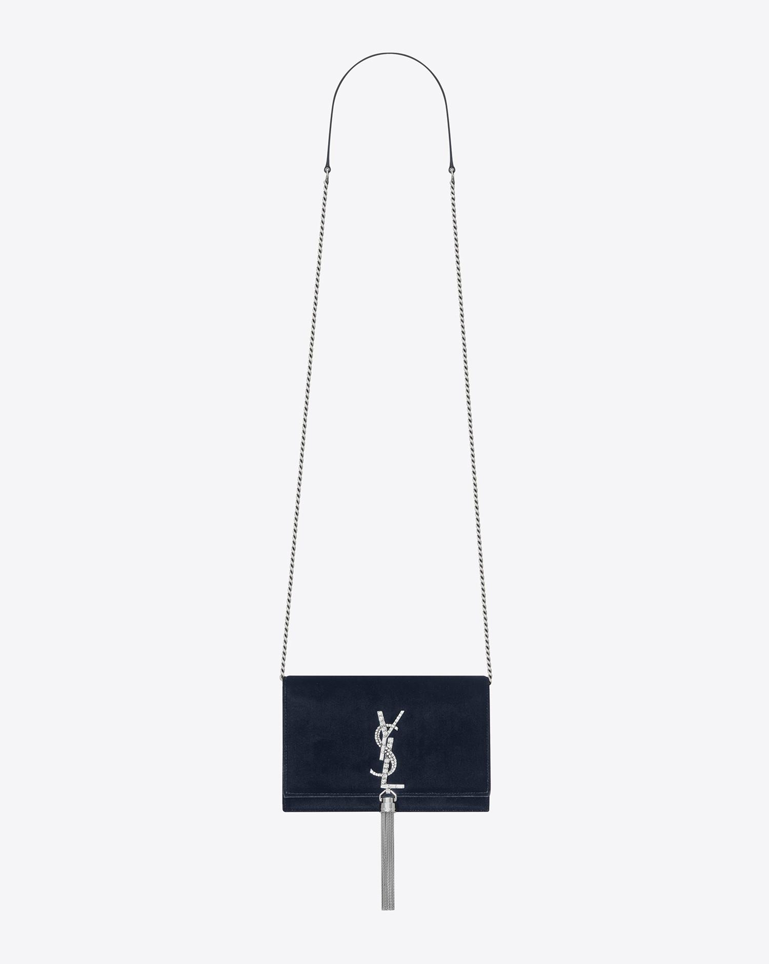 35cf7a6deb7 Saint Laurent Kate Chain And Tassel Wallet In Dark Blue Velvet And ...