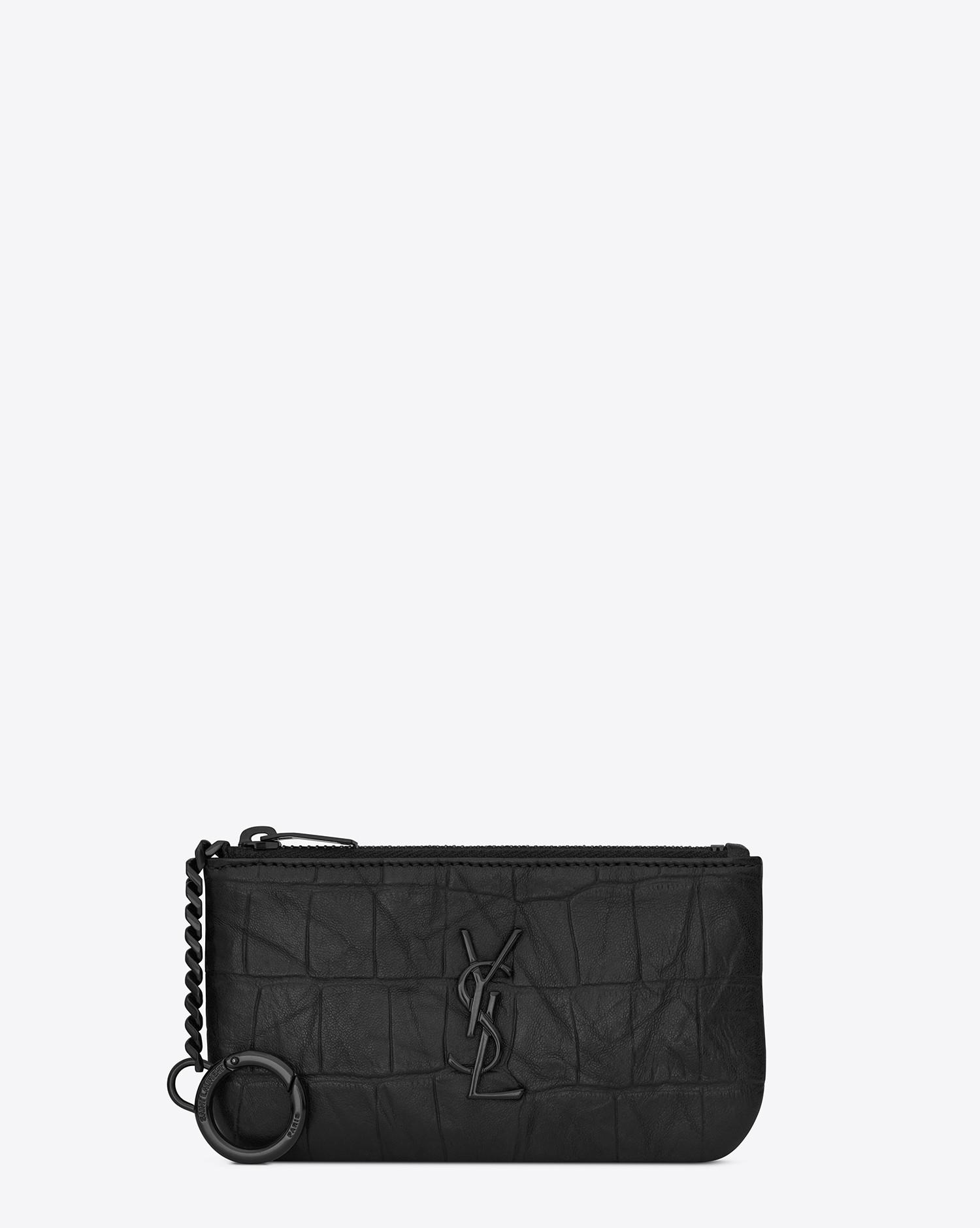 a5466780ae Lyst - Saint Laurent Monogram Key Pouch In Crocodile Embossed Leather in  Black for Men
