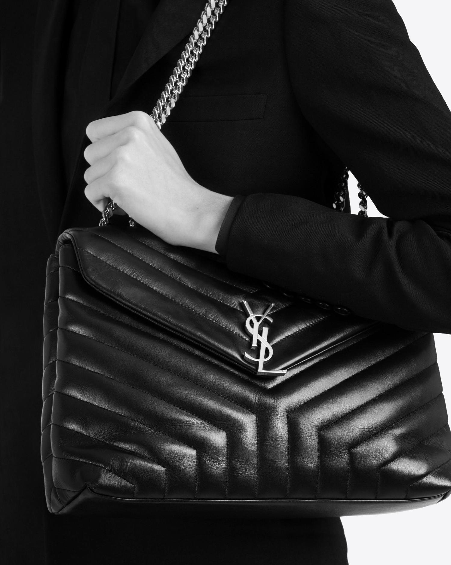 bb47ba65c46ef Lyst - Saint Laurent Medium Loulou Chain Bag In Black