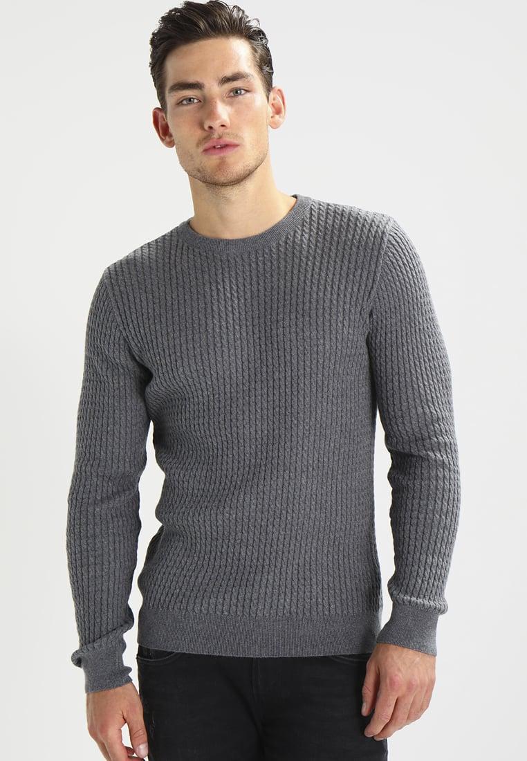 knowledge cotton apparel cable jumper in grey for men lyst. Black Bedroom Furniture Sets. Home Design Ideas
