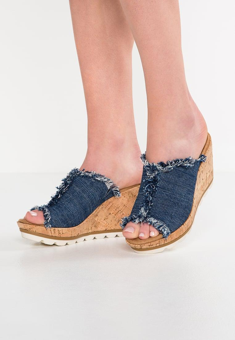 Lyst Minnetonka York Denim Wedge Sandals In Blue
