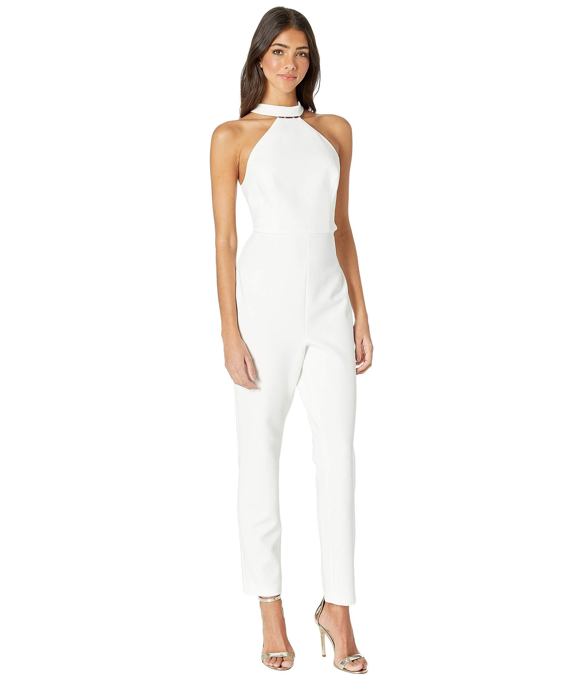 a31e15d88ac Lyst - BCBGMAXAZRIA Beaded Halter Cropped Jumpsuit (off-white ...