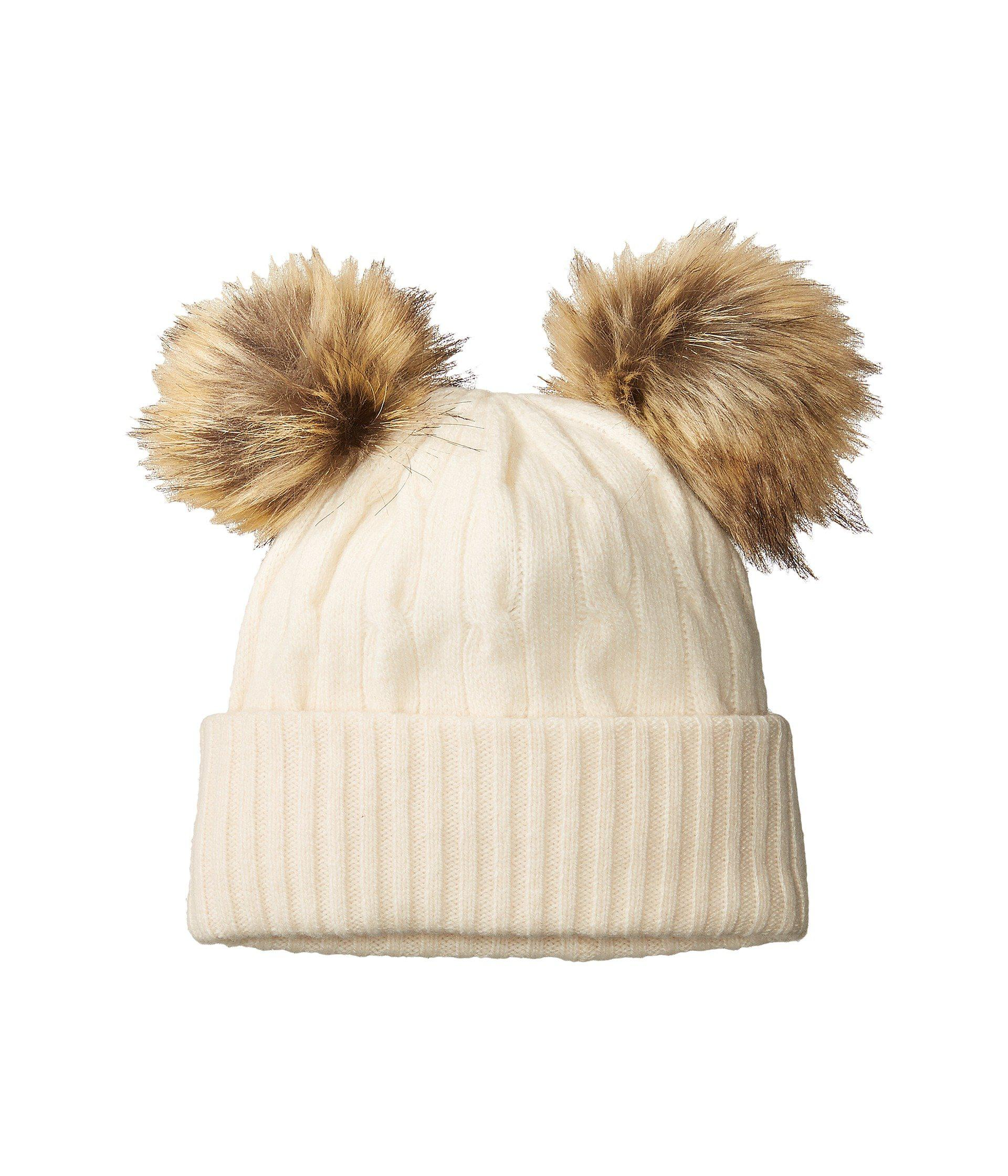 93d9fe4974a Lyst - Polo Ralph Lauren Double Pom Cashmere Blend Hat in Natural
