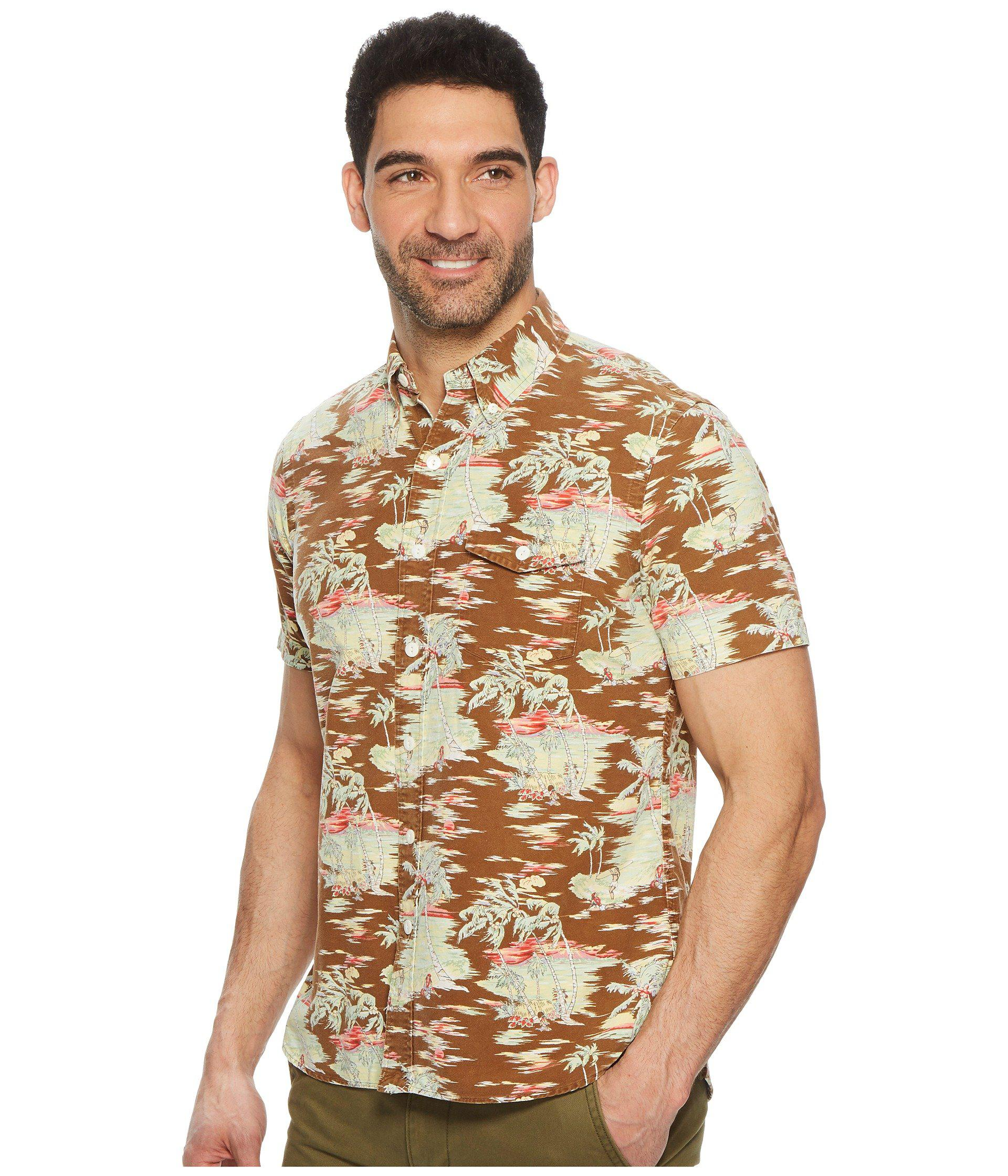 bc45739c6a83e Lyst - Polo Ralph Lauren Island Vibe Oxford Short Sleeve Sport Shirt (brown  Tropical) Men s Clothing in Brown for Men