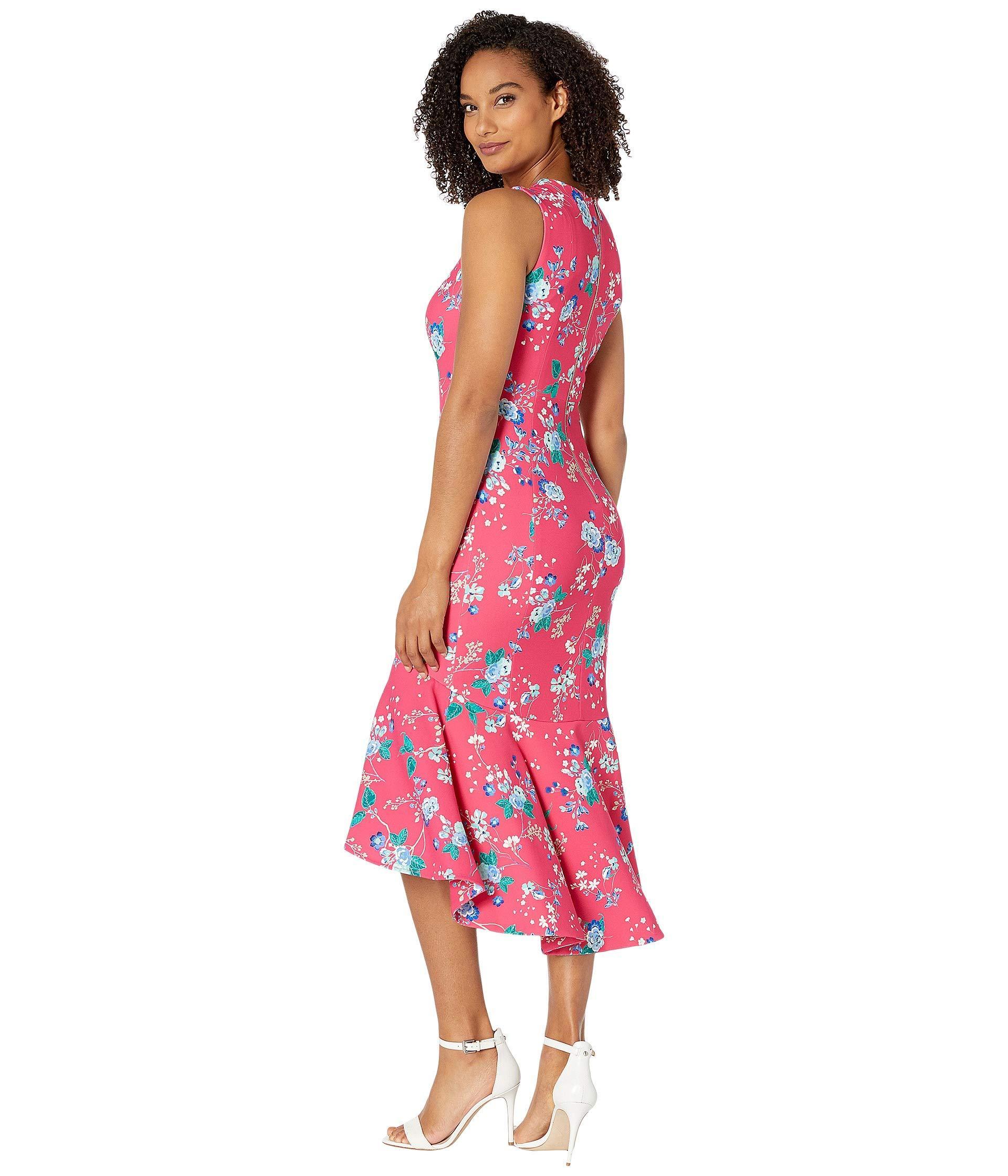 214f65fb815e3 Calvin Klein - Pink Floral High-low Dress W/ Ruffle Hem (hibiscus Multi.  View fullscreen