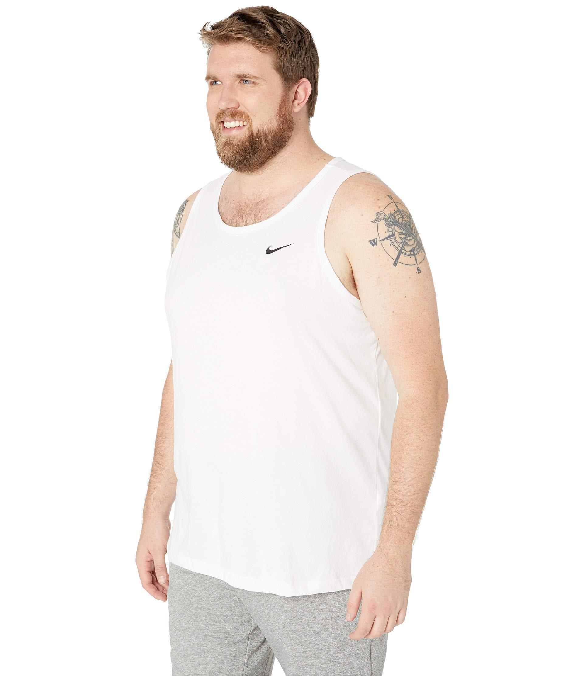 37ca8e58a8a0b Lyst - Nike Big Tall Dry Tank Top Dri-fit Cotton Solid (white black) Men s  Sleeveless in White for Men
