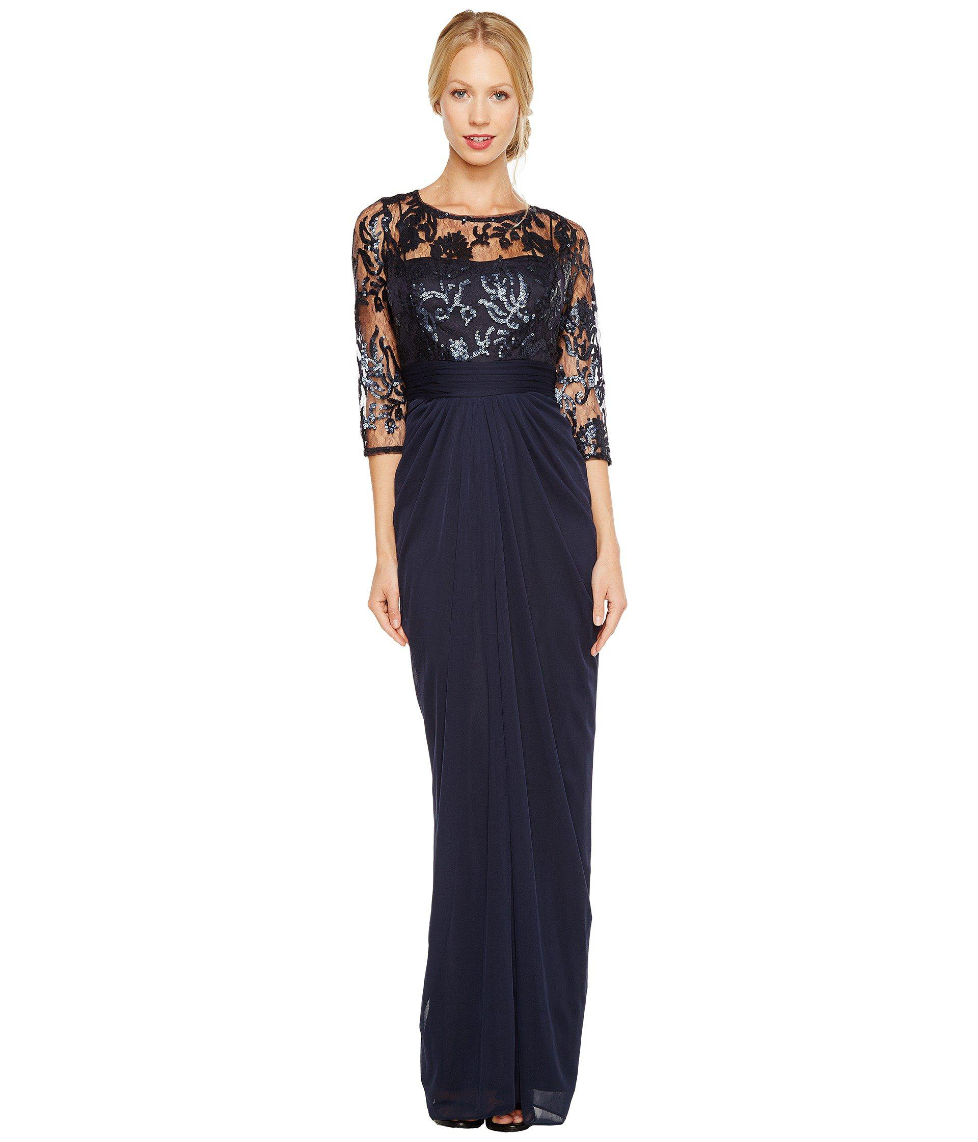 Lyst - Adrianna Papell Embroidered Sequin Bodice Drape Gown (ink ...