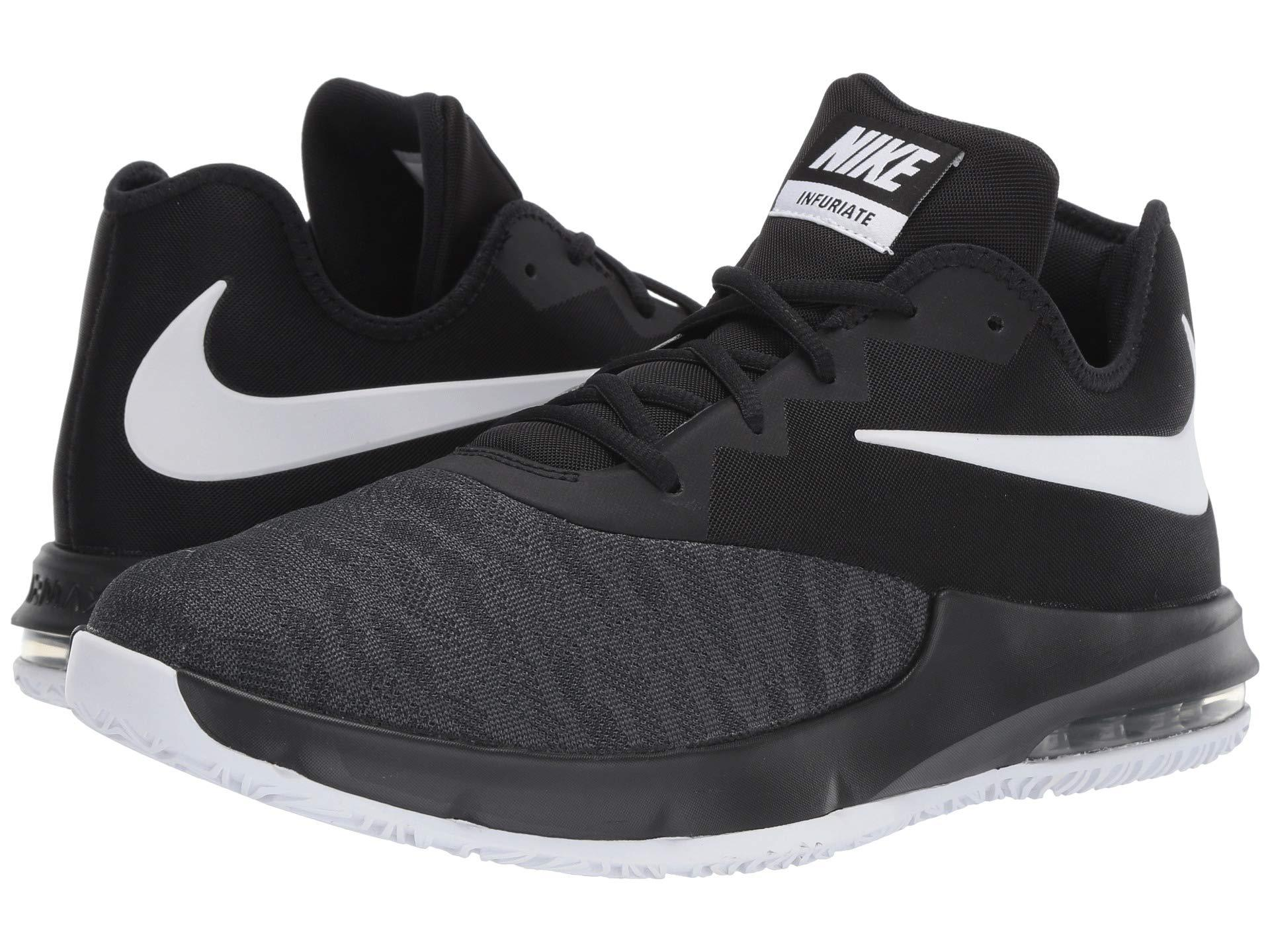 hot sale online 307d0 be13b Nike. Air Max Infuriate Iii Low (white black wolf Grey) Men s Basketball  Shoes
