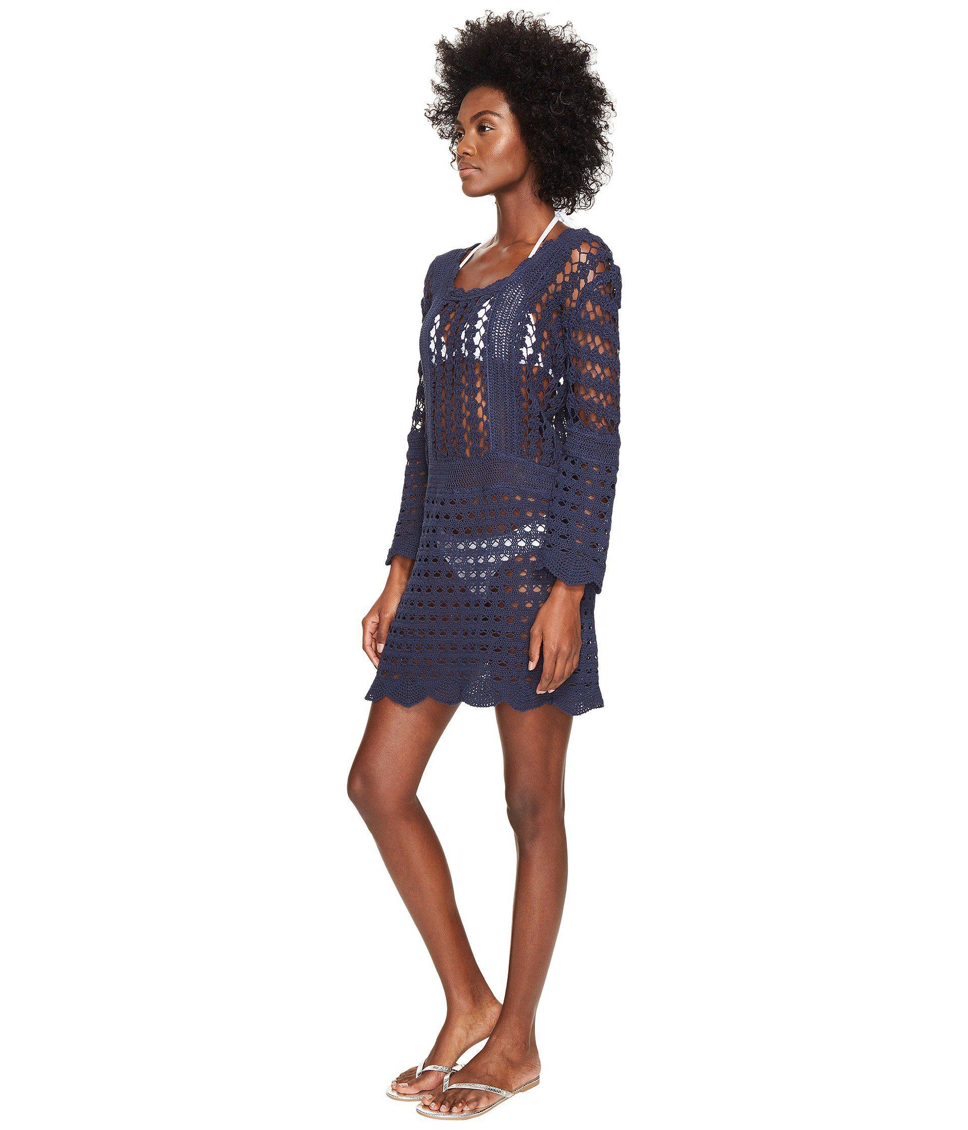 Lyst Letarte Crochet Long Sleeve Cover Up Dusty Navy Women S
