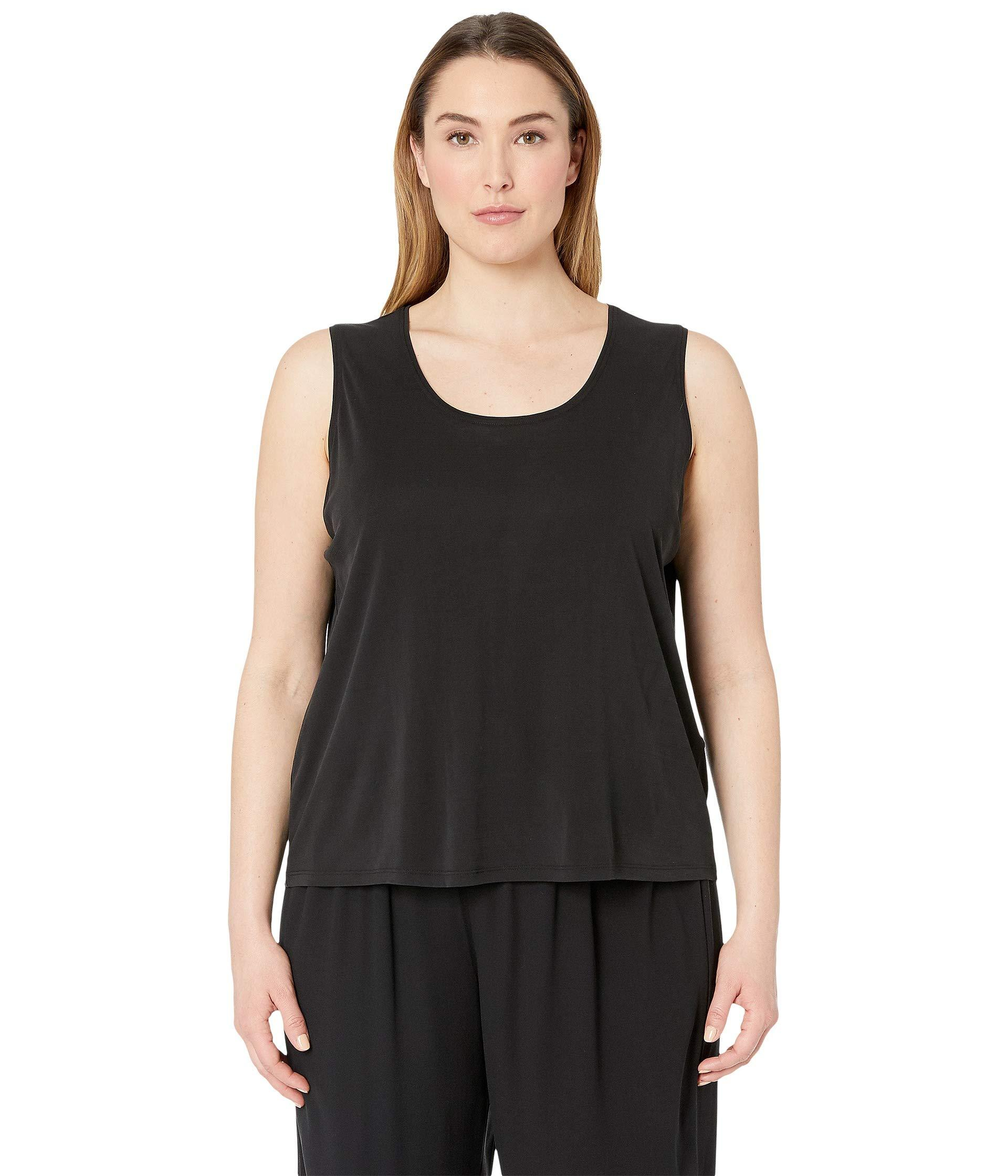 26e3b87a2ba Eileen Fisher. Plus Size Stretch Silk Jersey Scoop Neck Tank Top (black)  Women s Sleeveless