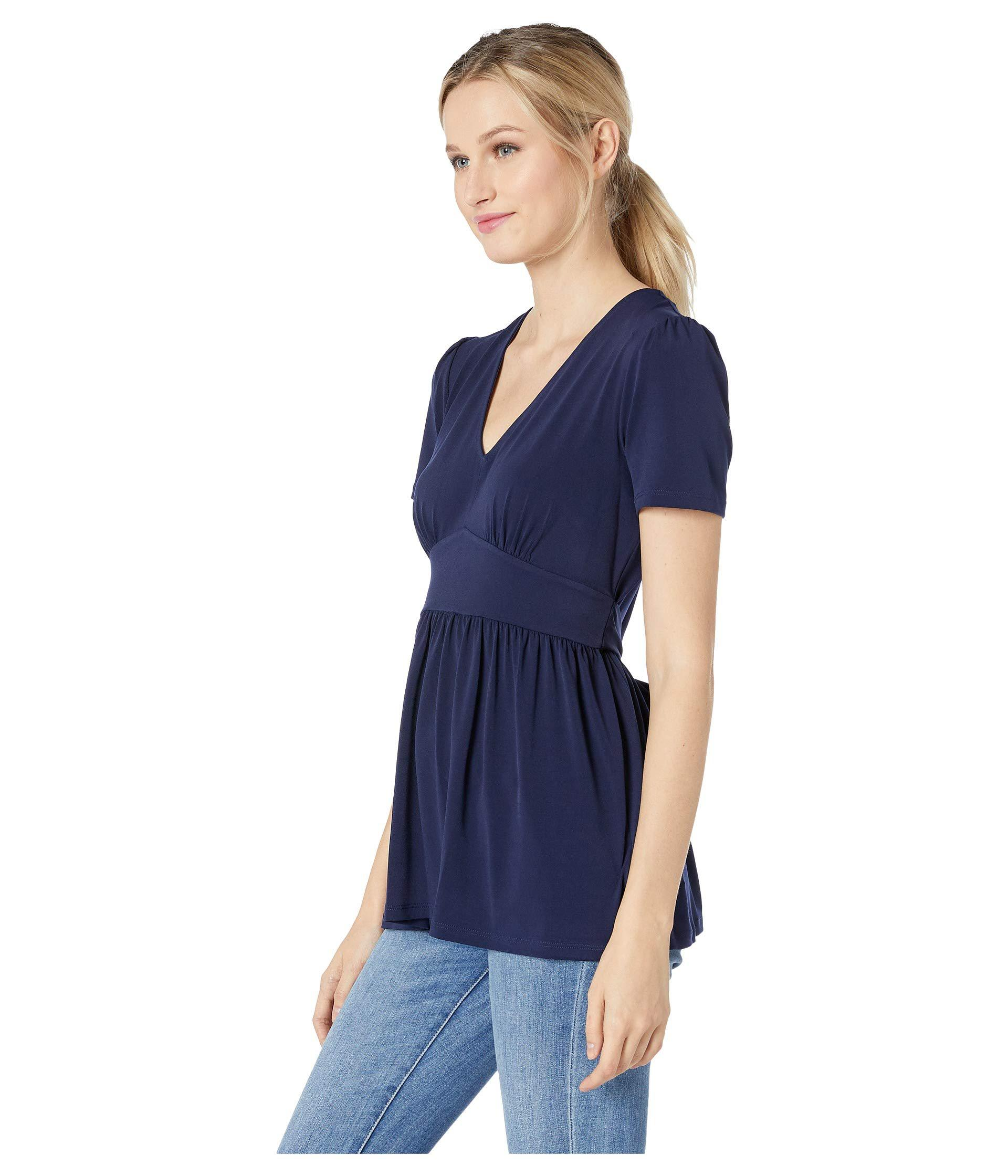 4a1f289404e7c2 MICHAEL Michael Kors V-neck Puff Sleeve Top (true Navy) Women's Clothing in  Blue - Lyst