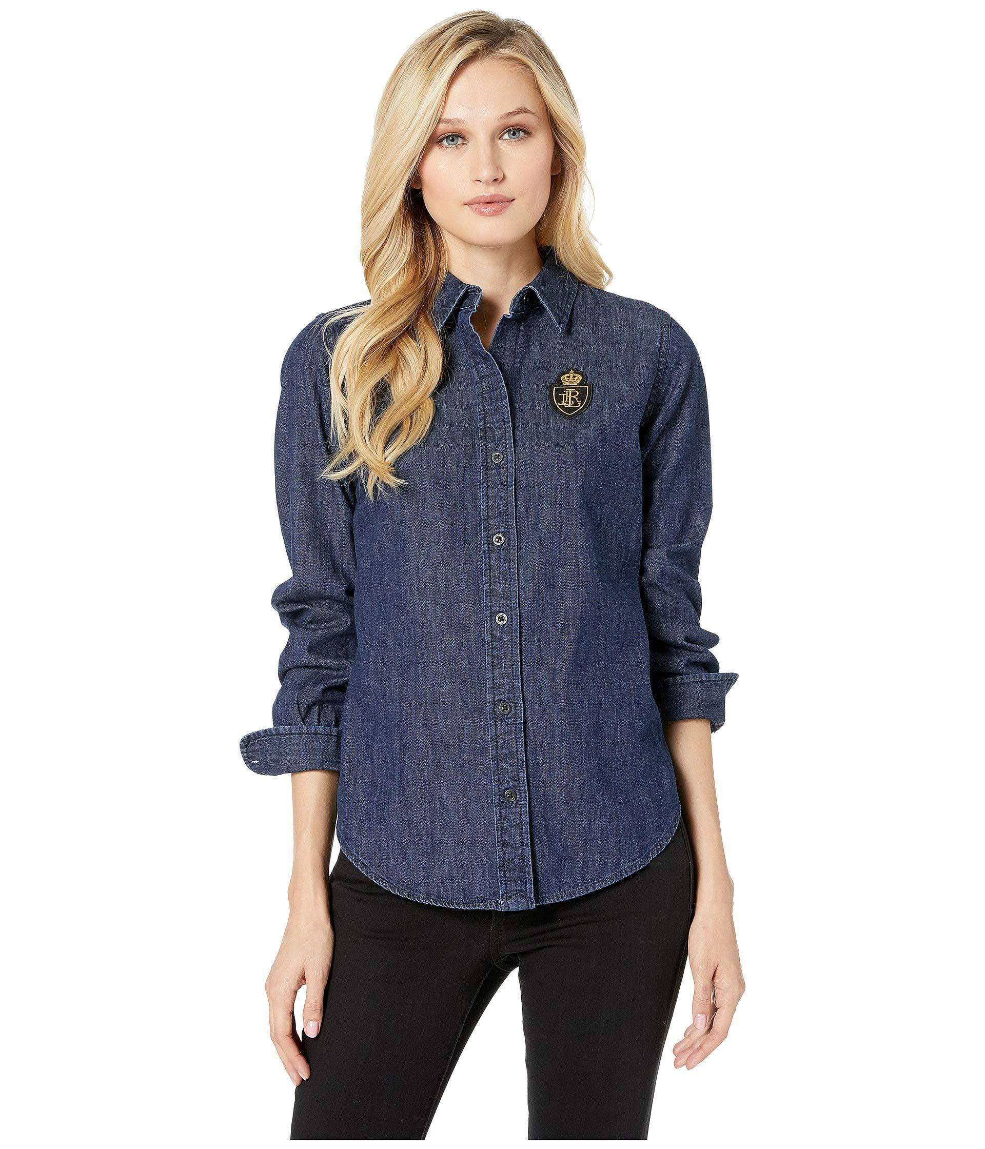 b11f38acb Lyst - Lauren By Ralph Lauren Denim-plaid Patch Shirt (authentic ...
