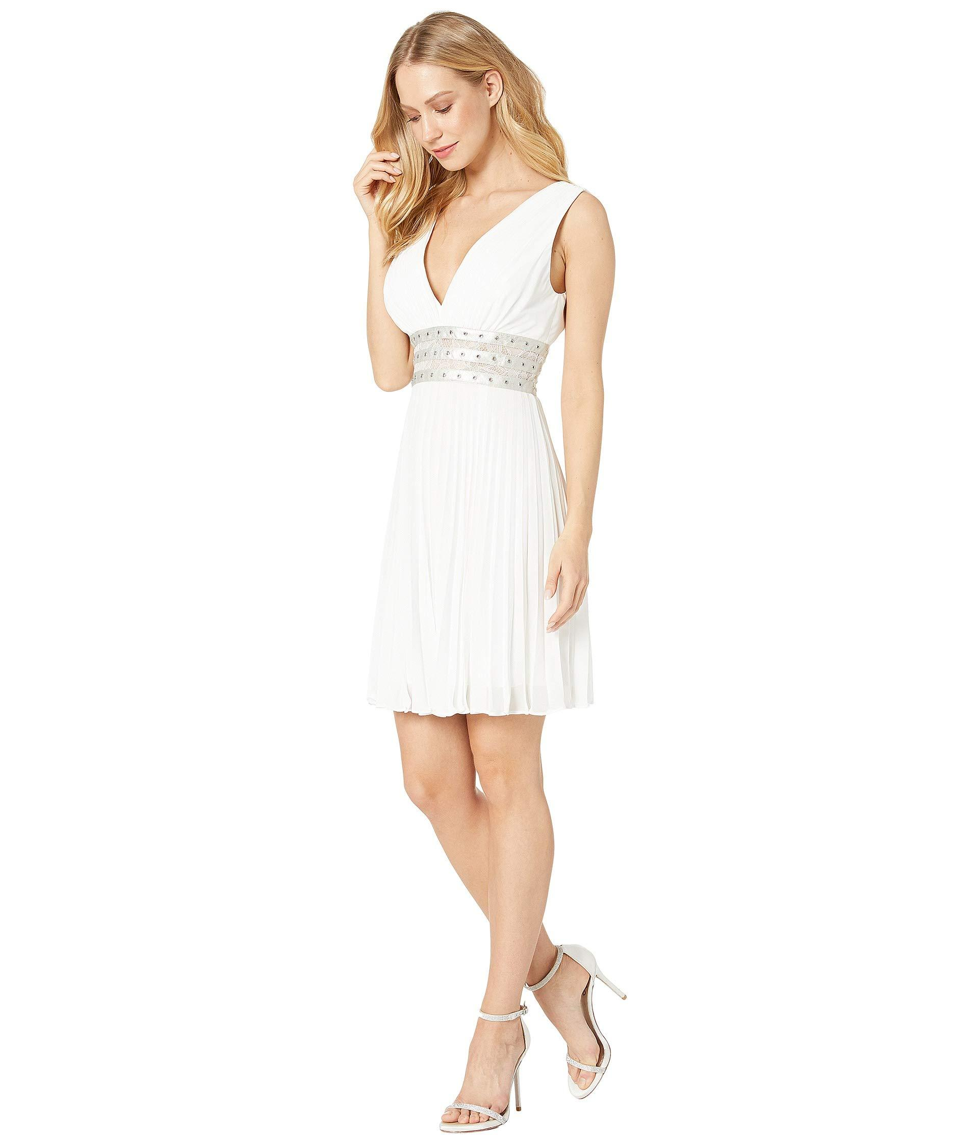 4af348d8522 Lyst - BCBGMAXAZRIA Short Woven Evening Dress (off-white) Women s Clothing  in White