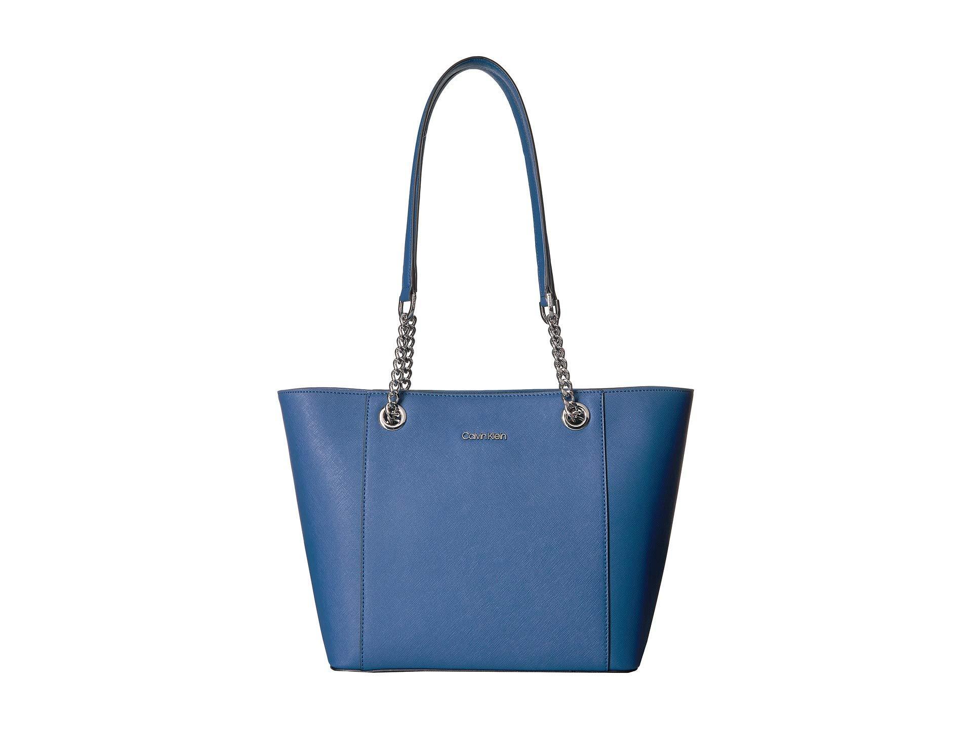 2cf2315edc Calvin Klein Saffiano Tote (seaport) Tote Handbags in Blue - Lyst