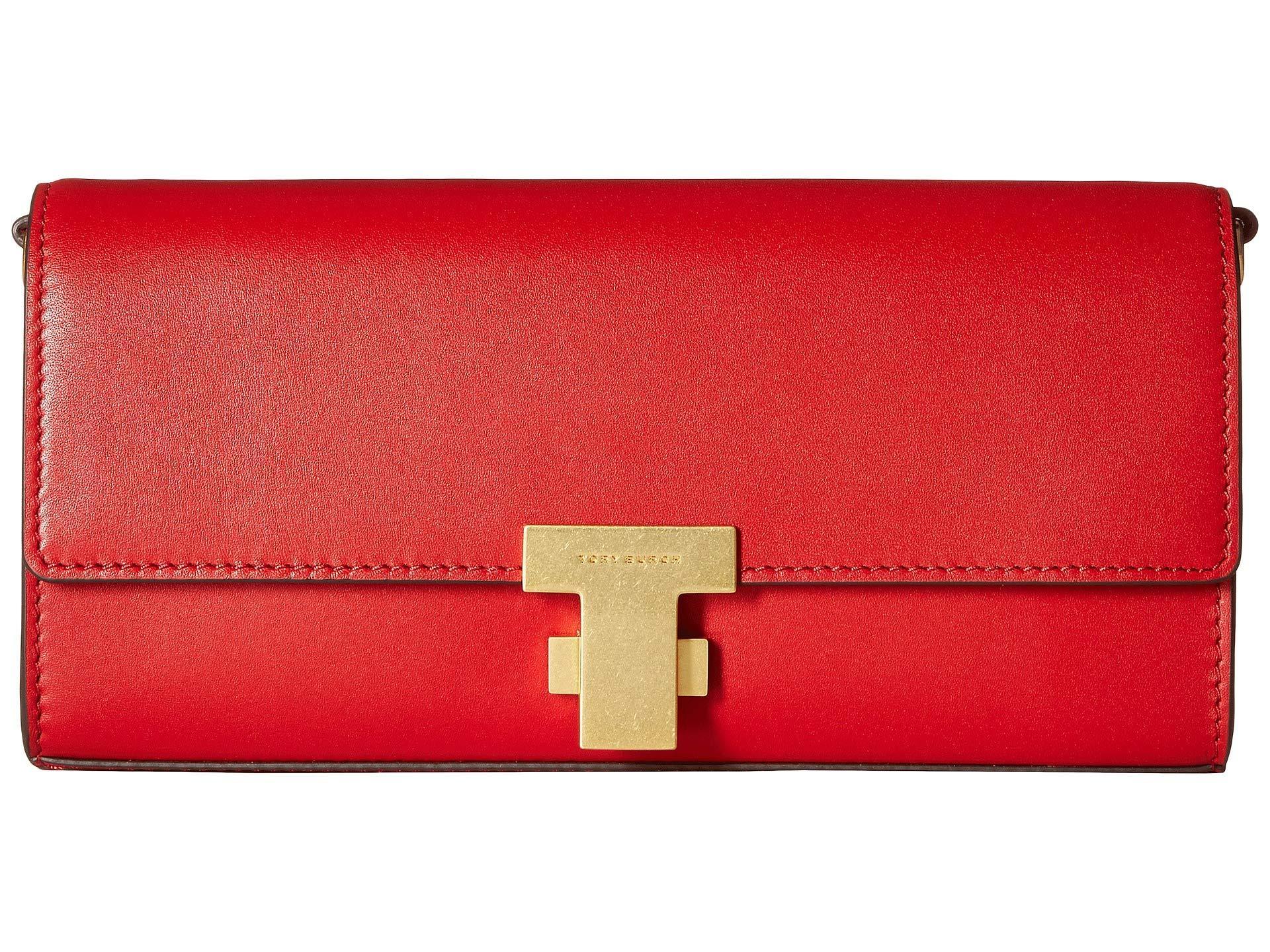 Lyst Tory Burch Juliette Clutch Black Clutch Handbags In Red