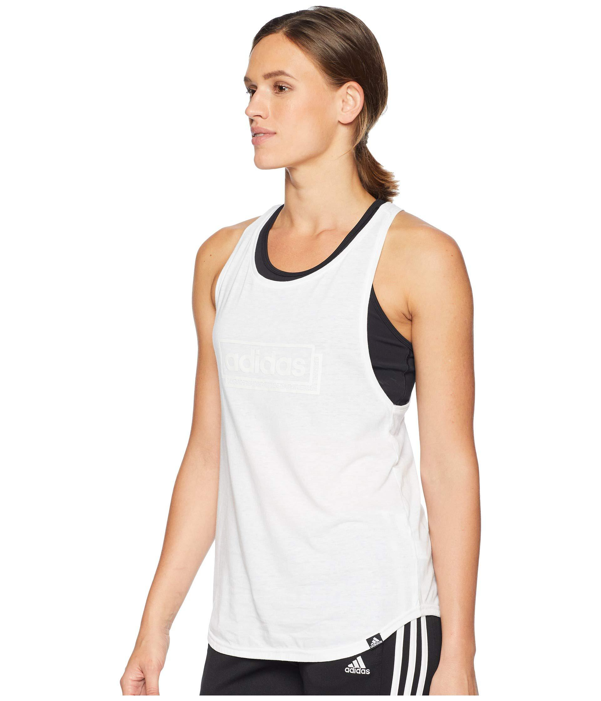 Tank Sleeveless white Adidas Linear Lyst Women's In Top Adibox White xp0w4Sq