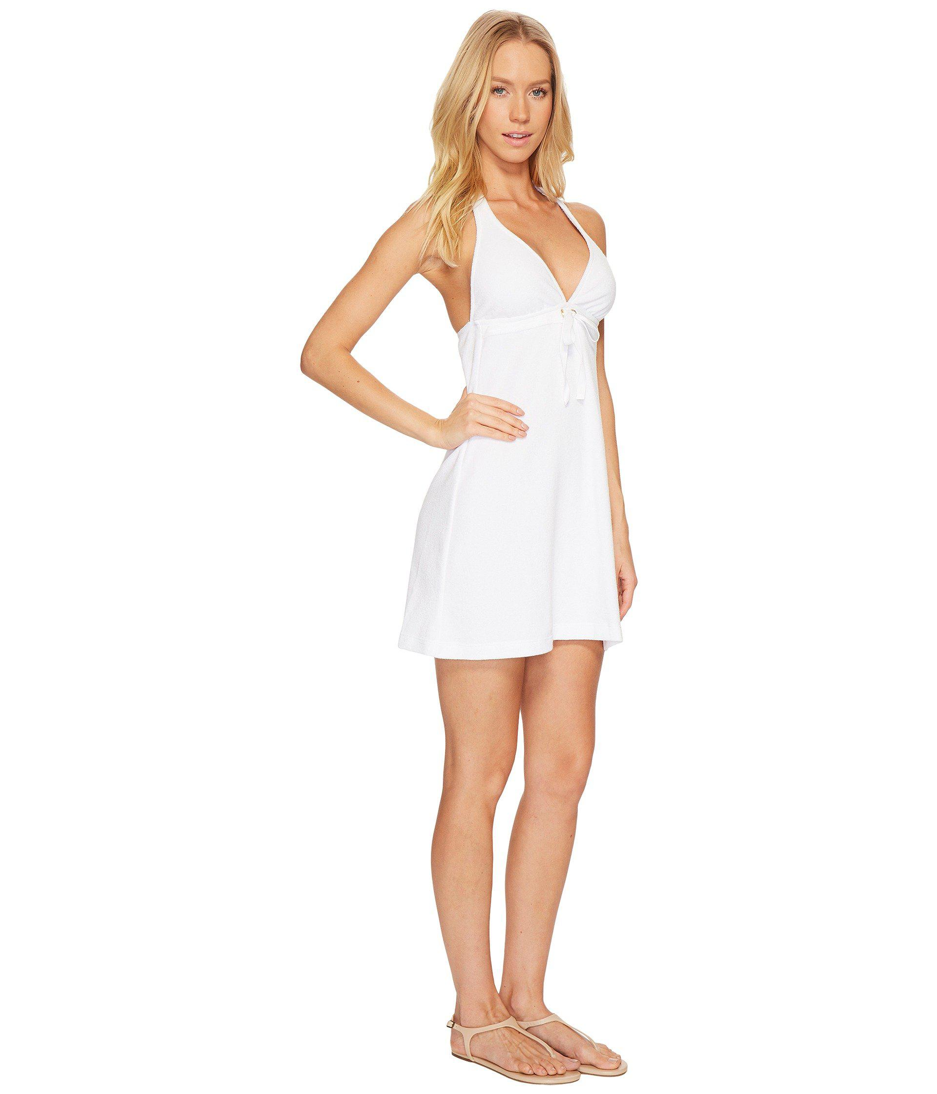 28555acee7 Lyst - Polo Ralph Lauren Iconic Terry Grommet Halter Dress Cover-up ...