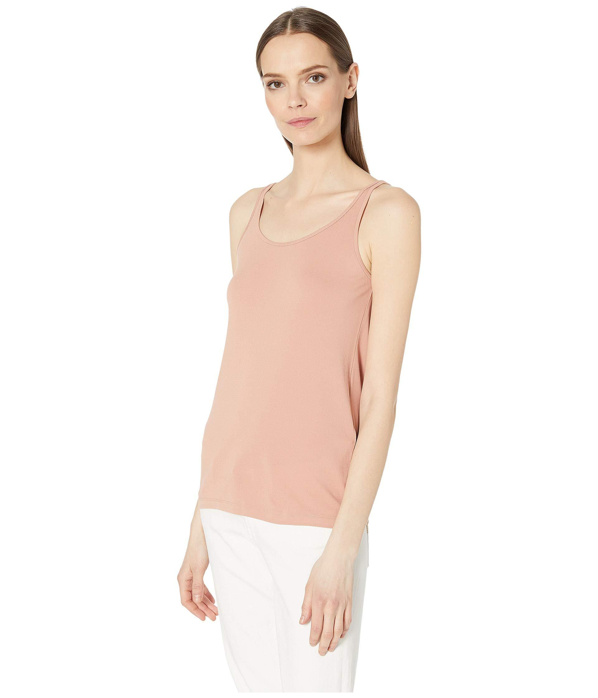 c29c37f370f51e Lyst - Eileen Fisher Stretch Silk Jersey Scoop Neck Long Cami (toffee  Cream) Women s Clothing in Natural