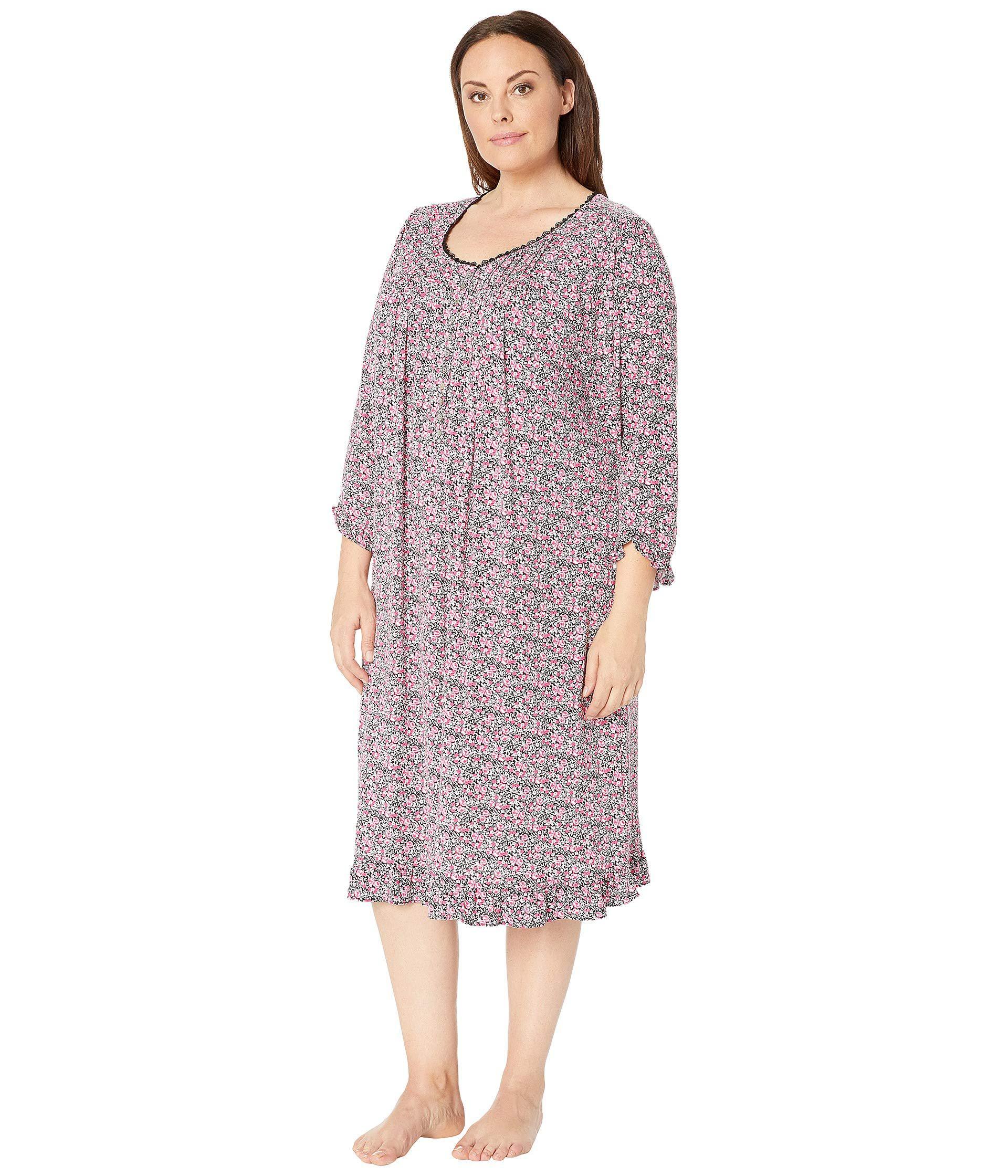 Lyst - Eileen West Plus Size Knit Modal Waltz Nightgown (black Multi Ditsy  Floral) Women s Pajama 898618264