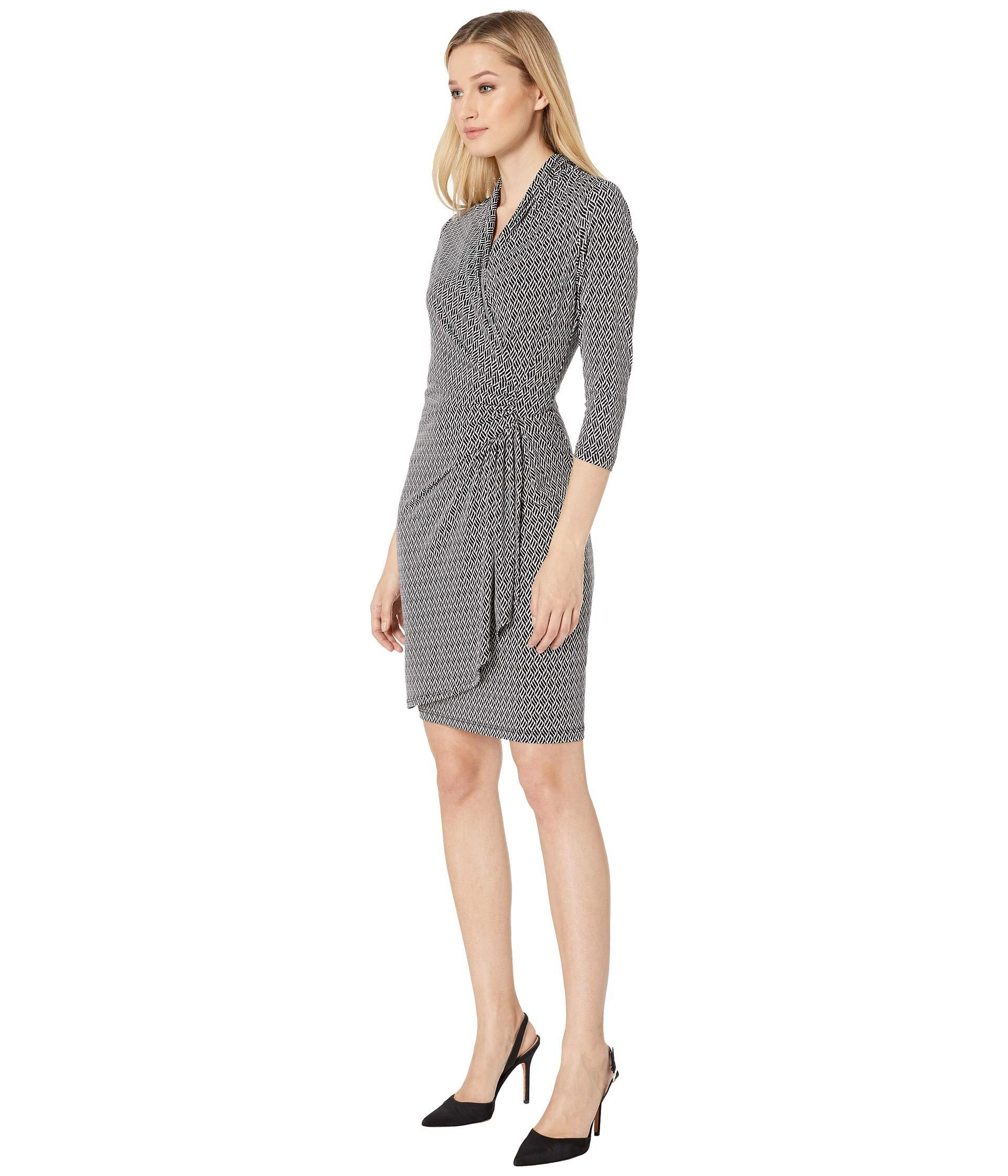 65cf9e7372c Lyst - Karen Kane 3 4 Sleeve Cascade Wrap Dress (print) Women s Dress in  Gray