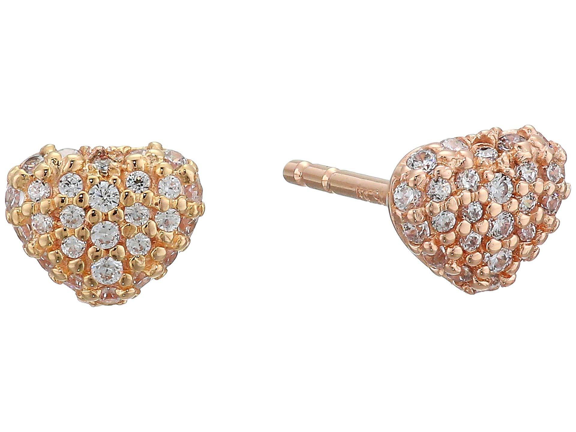 857ee33cd11dcf Michael Kors. Women's Metallic Precious Metal-plated Sterling Silver Pave  Heart Studs Earrings ...