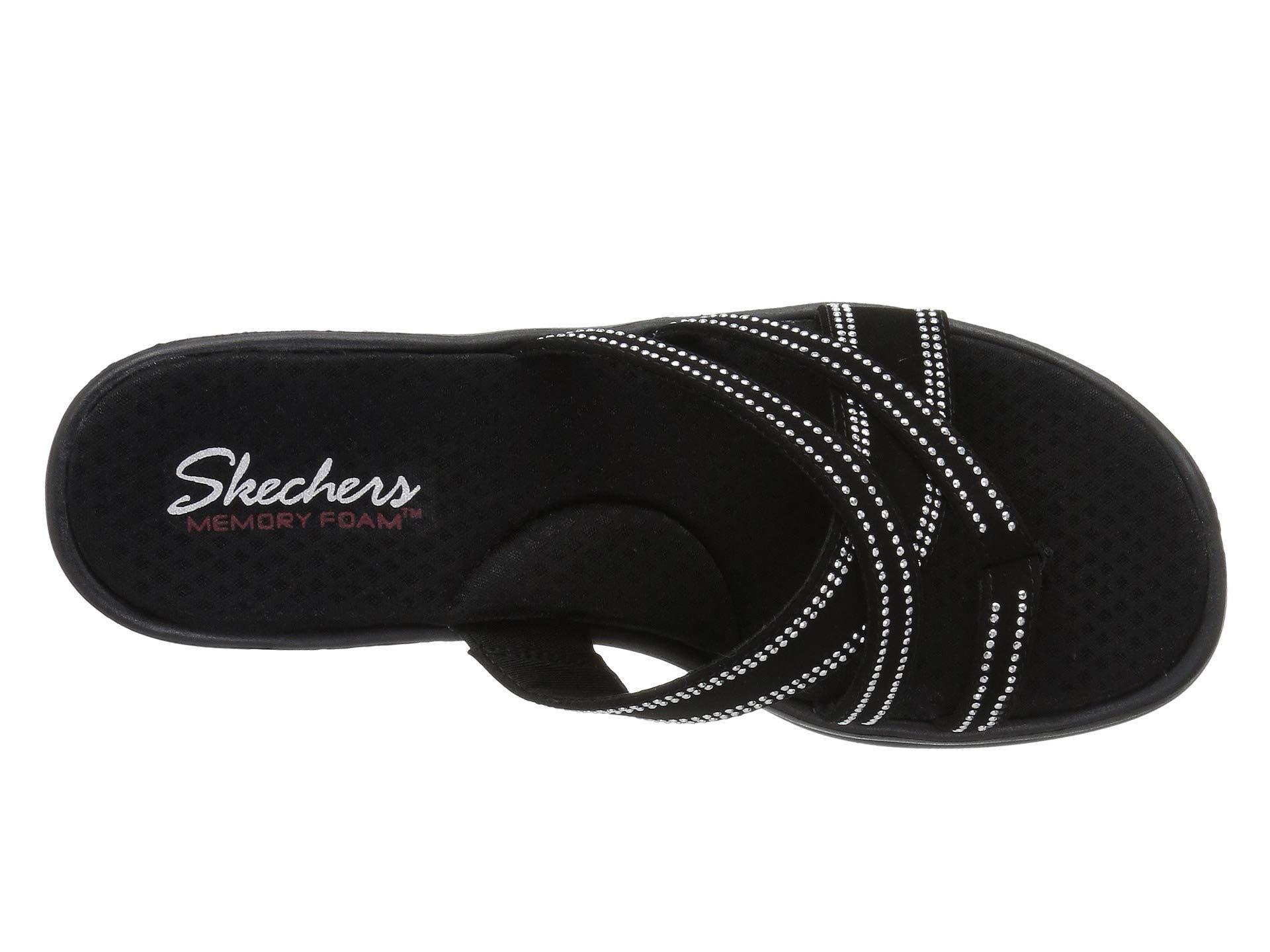 cd7f854388bb Skechers - Black Rumblers-cali Spell-studded Multi Strap Slide With Memory  Foam Wedge. View fullscreen