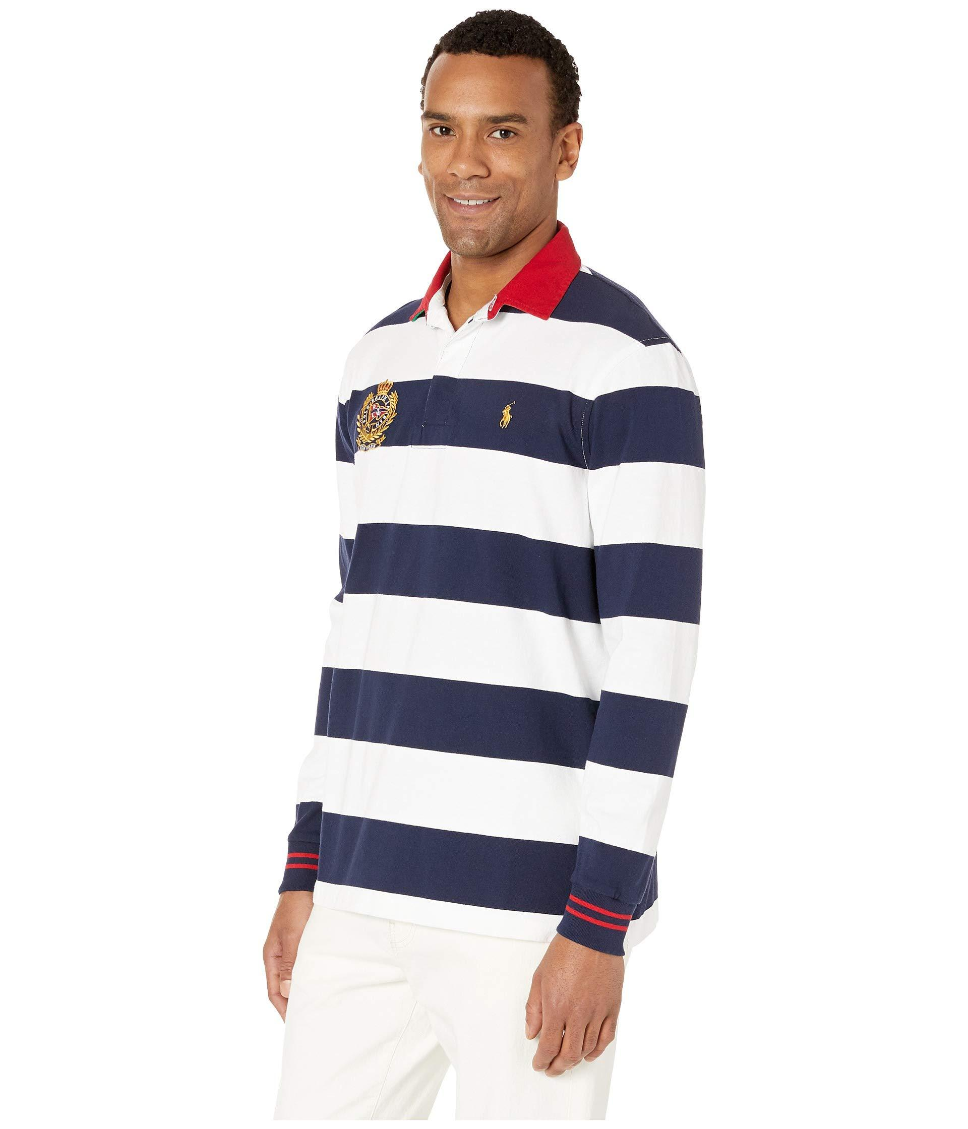 a033324f Lyst - Polo Ralph Lauren Long Sleeve Rugby Polo (cruise Navy/white) Men's  Sweatshirt in Blue for Men