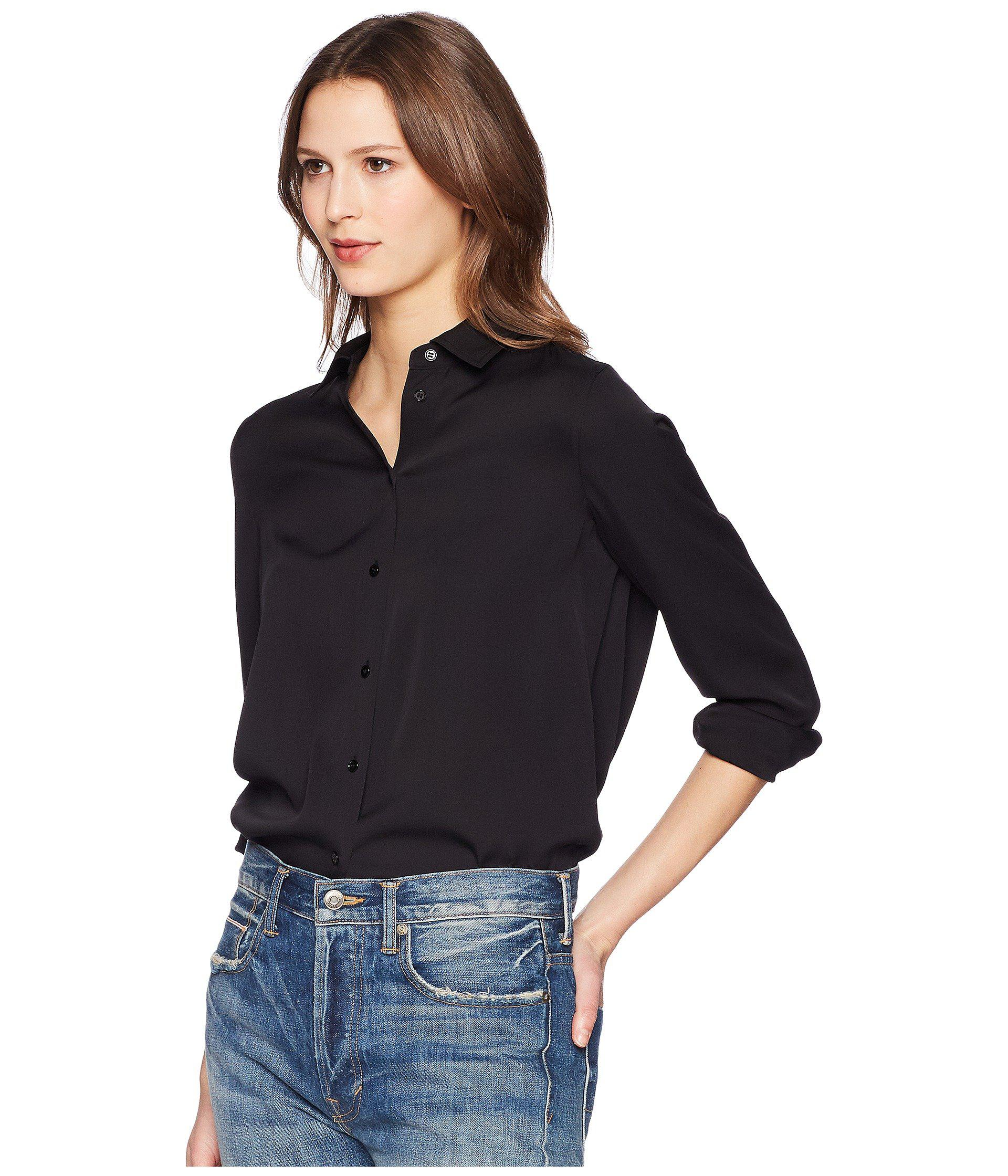 5c966e97f34a13 Lyst - Vince Slim Fitted Blouse (black) Women s Blouse in Black