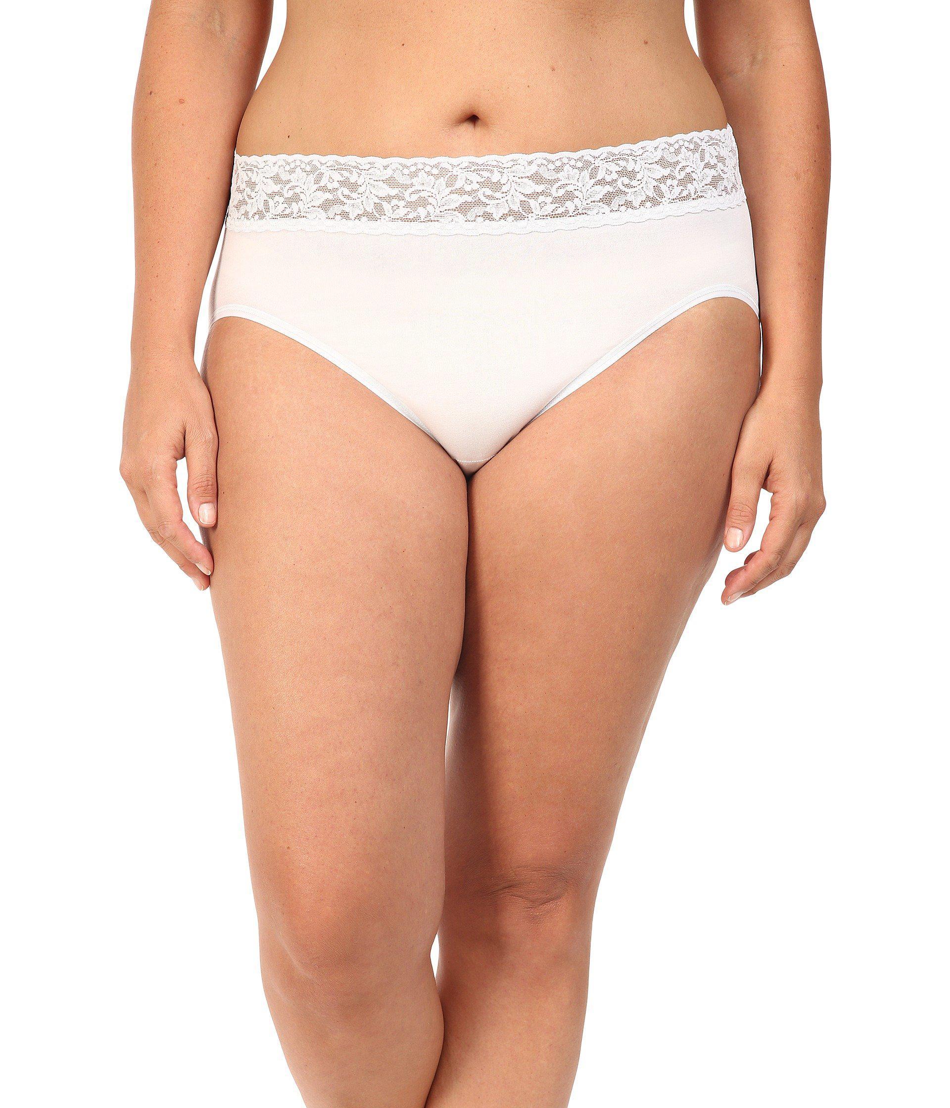 971d3fcb6df Hanky Panky. White Plus Size Organic Cotton Signature Lace French Brief ( black) Women s Underwear
