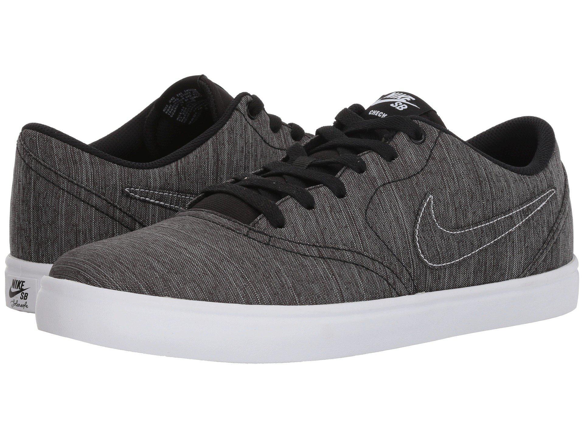 7994f3c7b72d9 Lyst - Nike Check Solar Canvas Premium (black black white) Men s ...