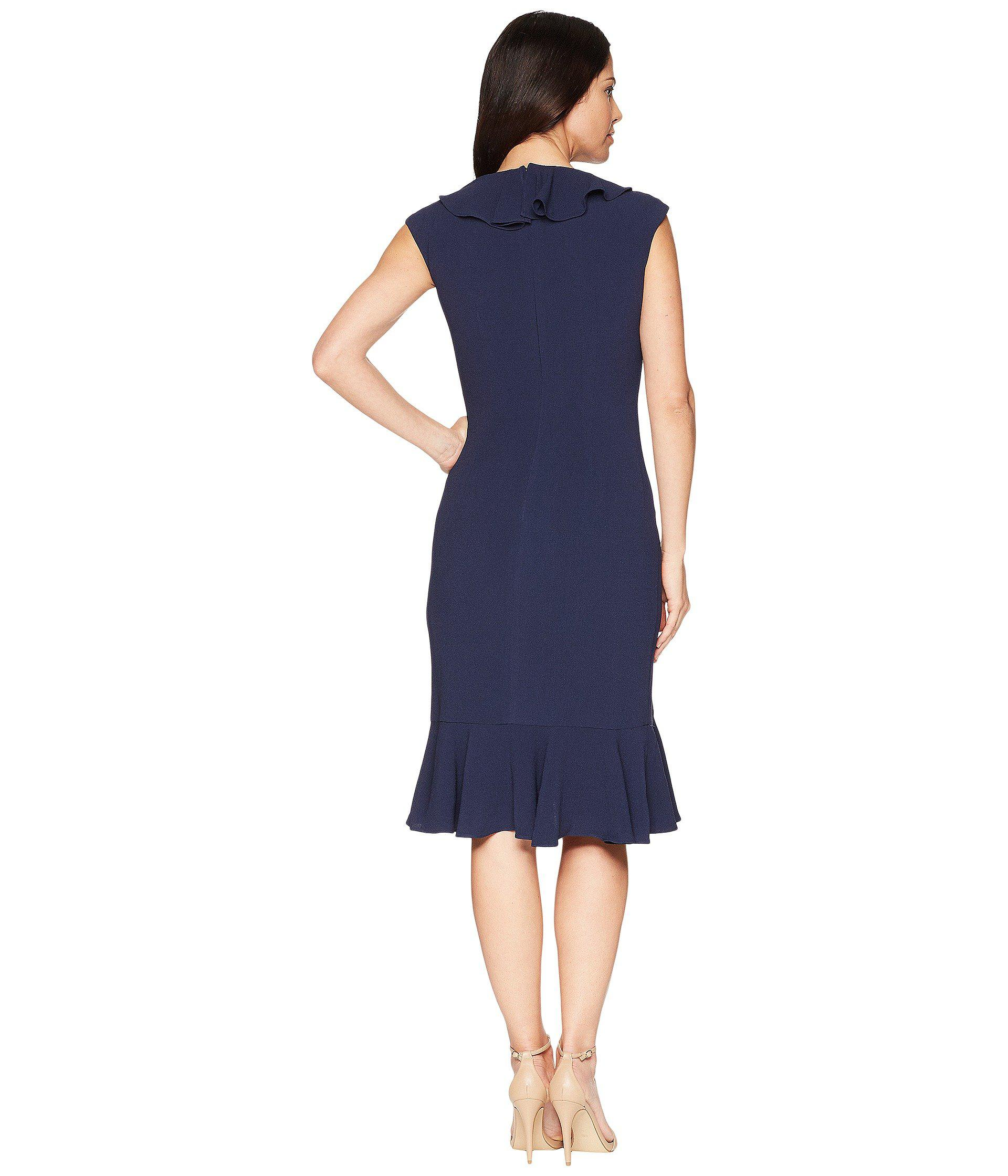 09e770f7024 Maggy London - Blue 30s Crepe Cascade Ruffle Front Dress (navy) Women s  Dress -. View fullscreen