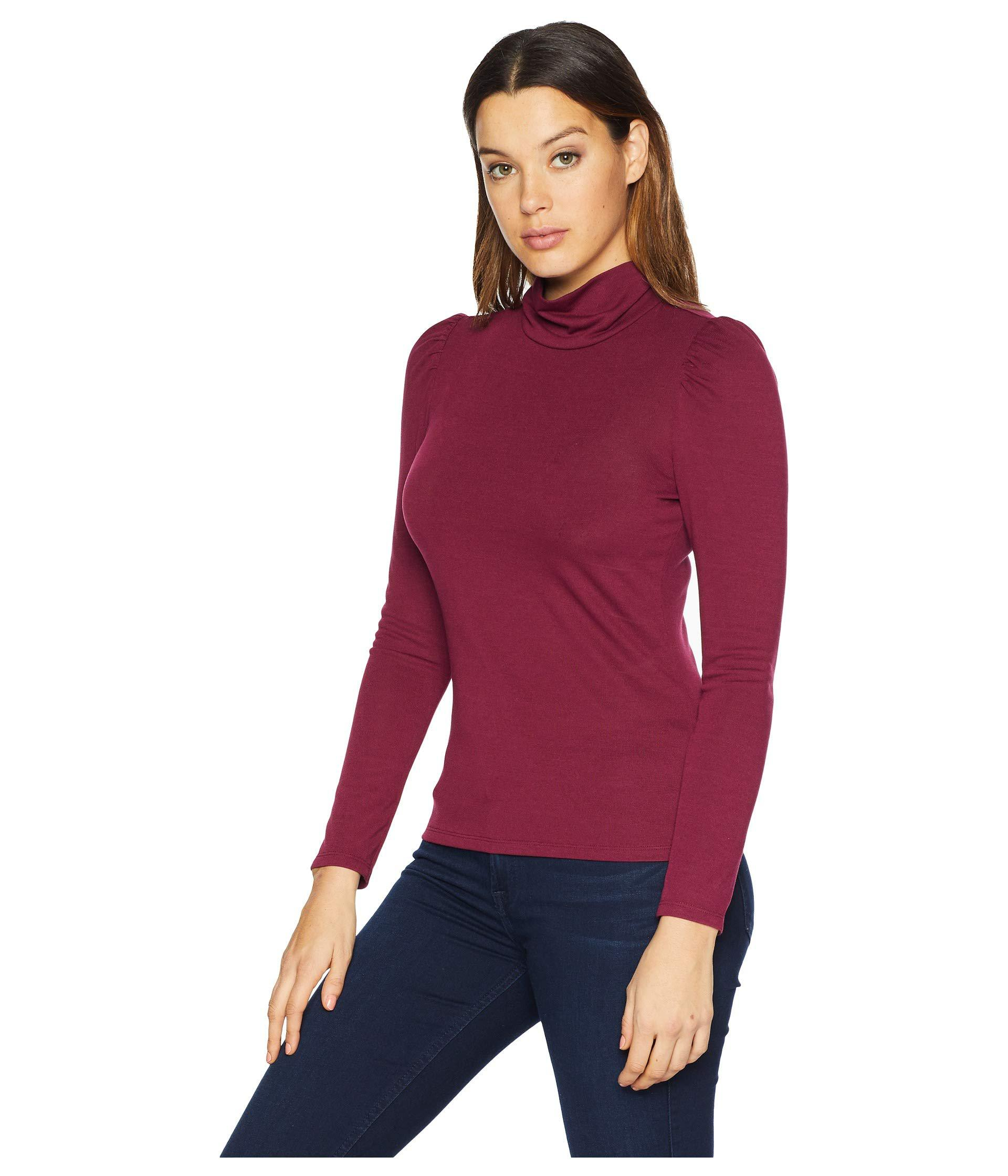 6744f2a9fa70d Lyst - Vince Camuto Long Sleeve Turtleneck Knit Jersey Top (manor Red)  Women's Clothing in Red